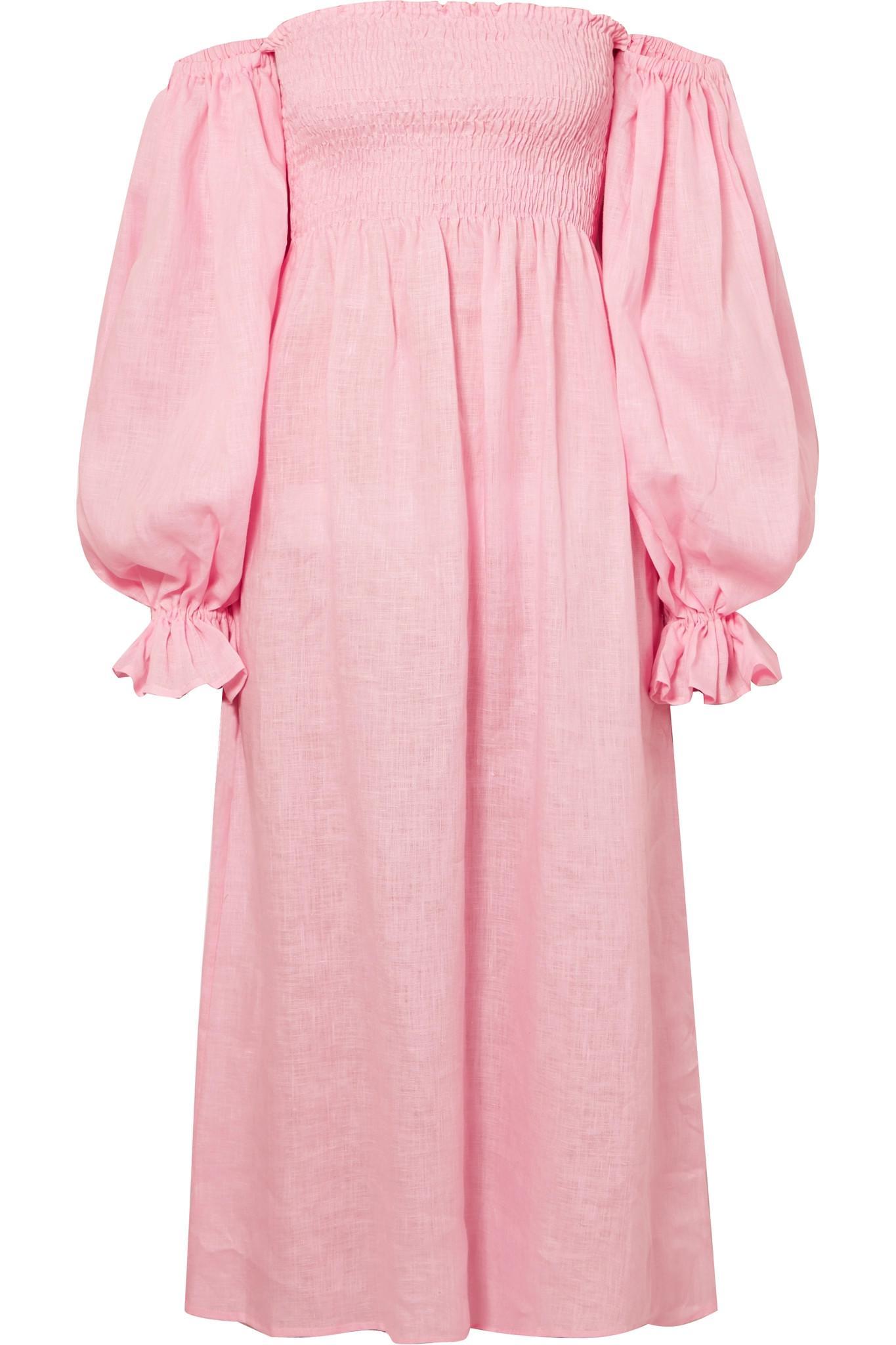 61633a53ed Lyst - Sleeper Atlanta Off-the-shoulder Shirred Linen Midi Dress in Pink