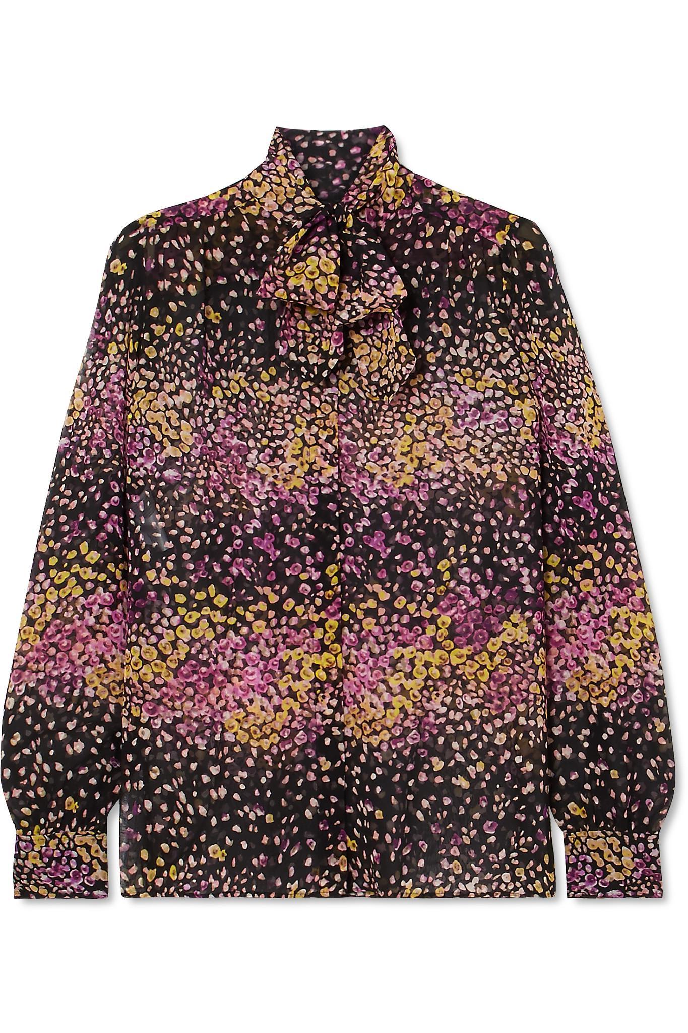 d870fcb2b88870 Giambattista Valli. Women's Black Pussy-bow Floral-print Silk-georgette  Blouse