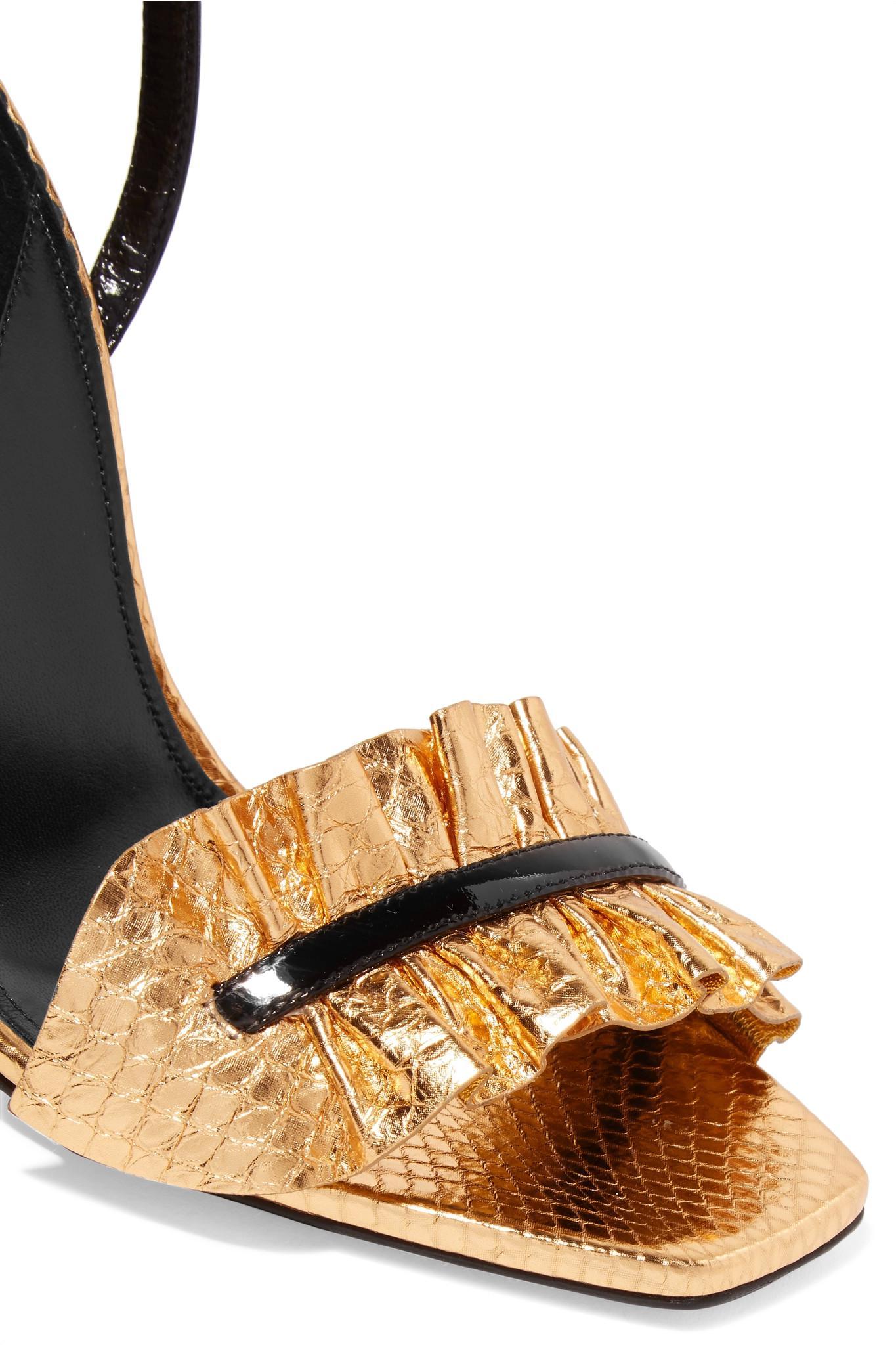 a74abc782c6d6 Lyst - Saint Laurent Edie Ruffled Metallic Snake-effect Leather ...