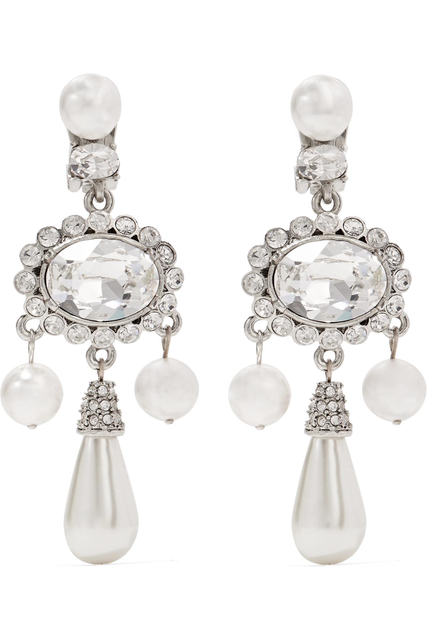 Oscar De La A Women S Metallic Silver Plated Faux Pearl And Swarovski Crystal Clip Earrings