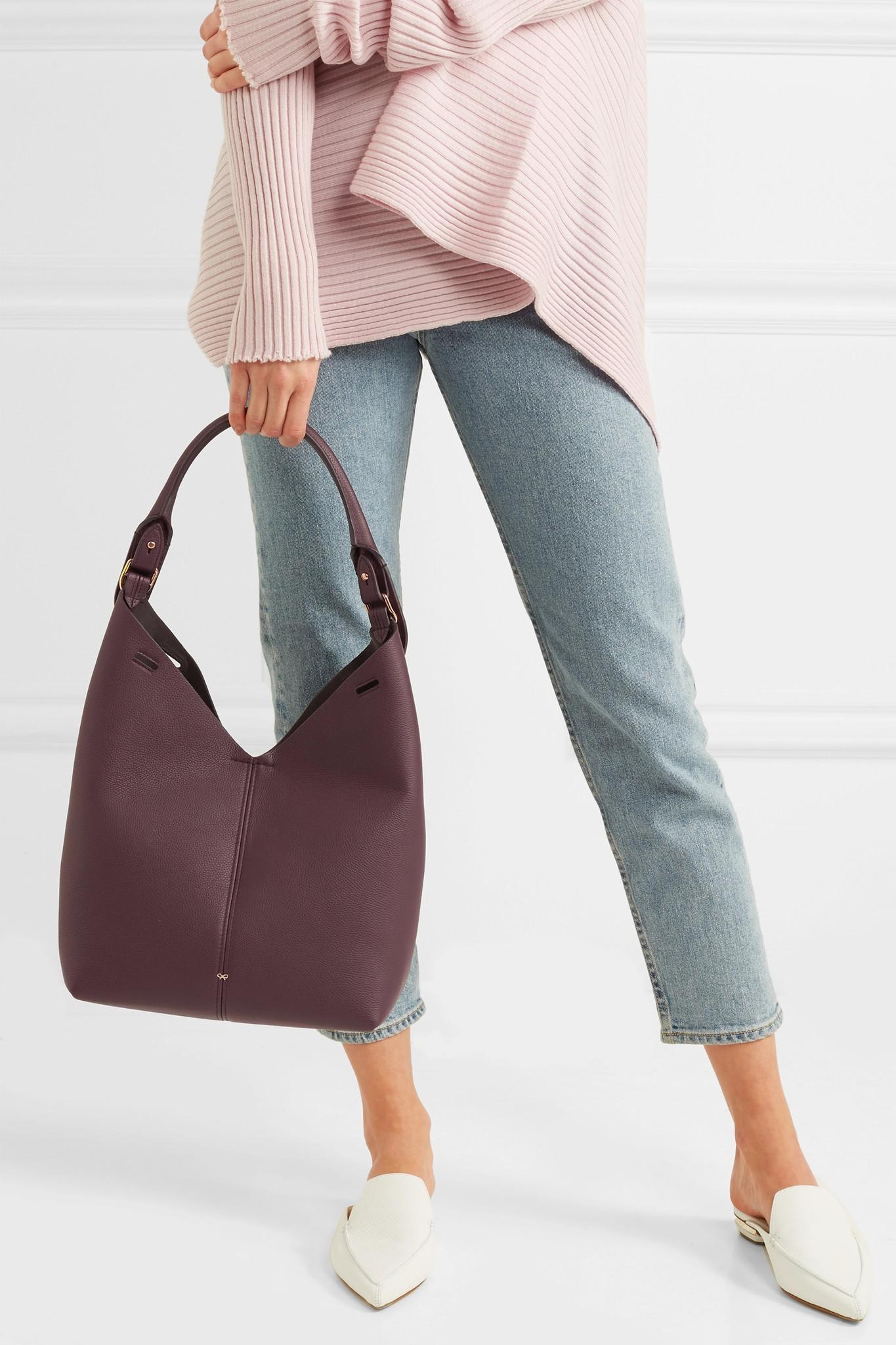 Bucket Small Textured-leather Tote - Plum Anya Hindmarch 4qG32