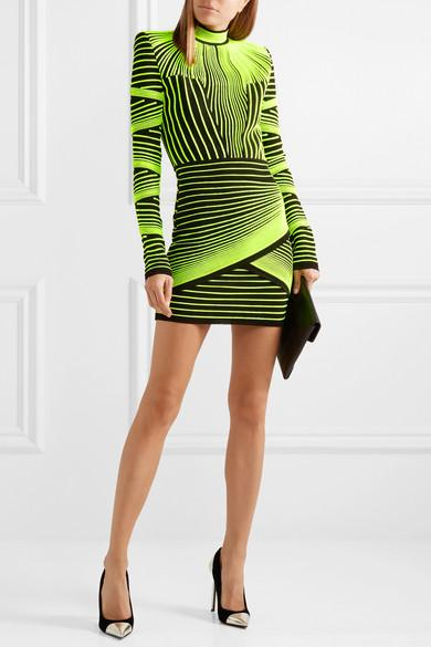 aed4bca4 Balmain Neon Ribbed Stretch-knit Mini Dress in Green - Lyst