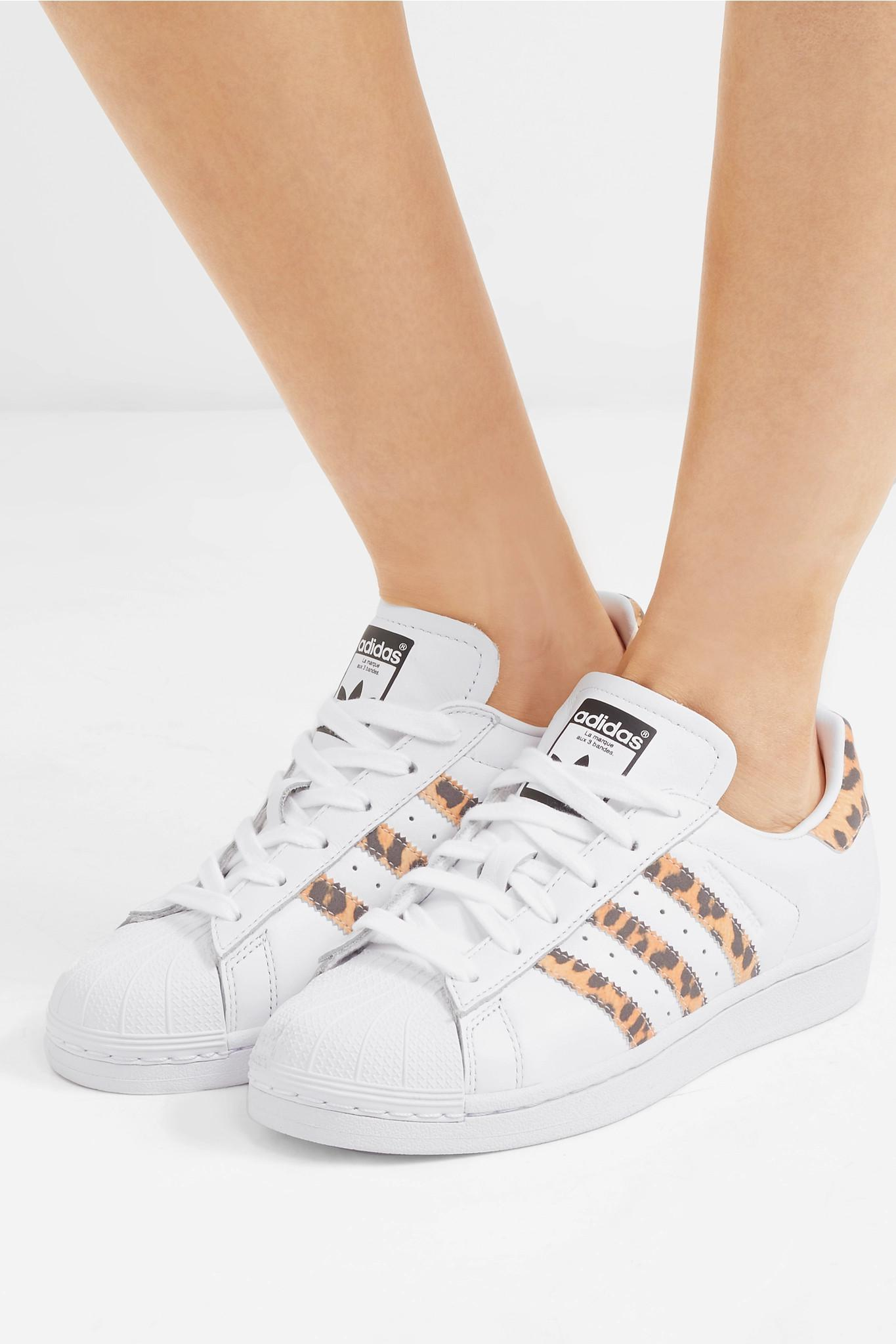 timeless design 4988f 6165a Adidas Originals - White Superstar Leopard Print-trimmed Leather Sneakers -  Lyst. View fullscreen