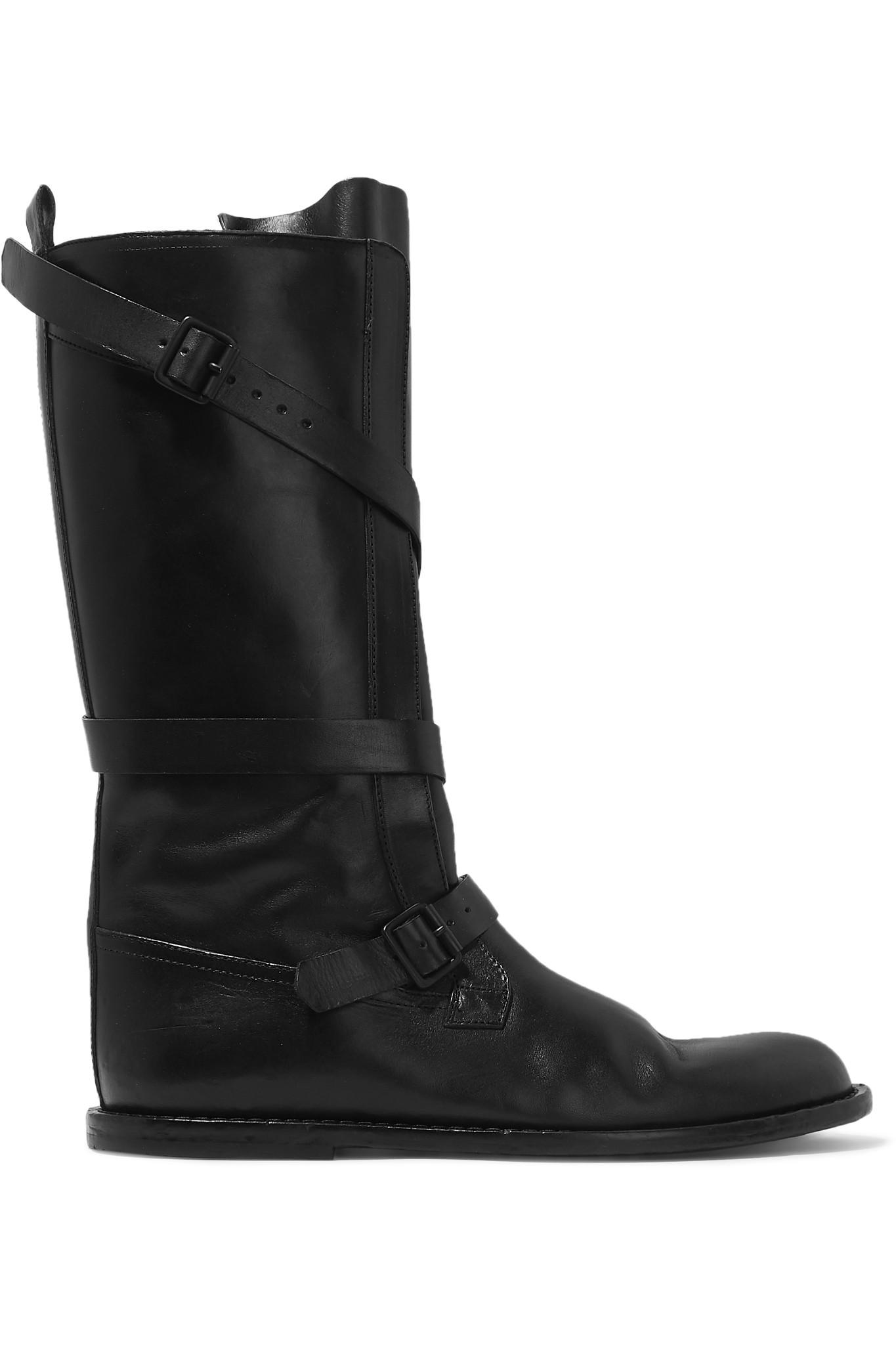 1ad65f6d408 Lyst - Ann Demeulemeester Buckled Leather Knee Boots in Black