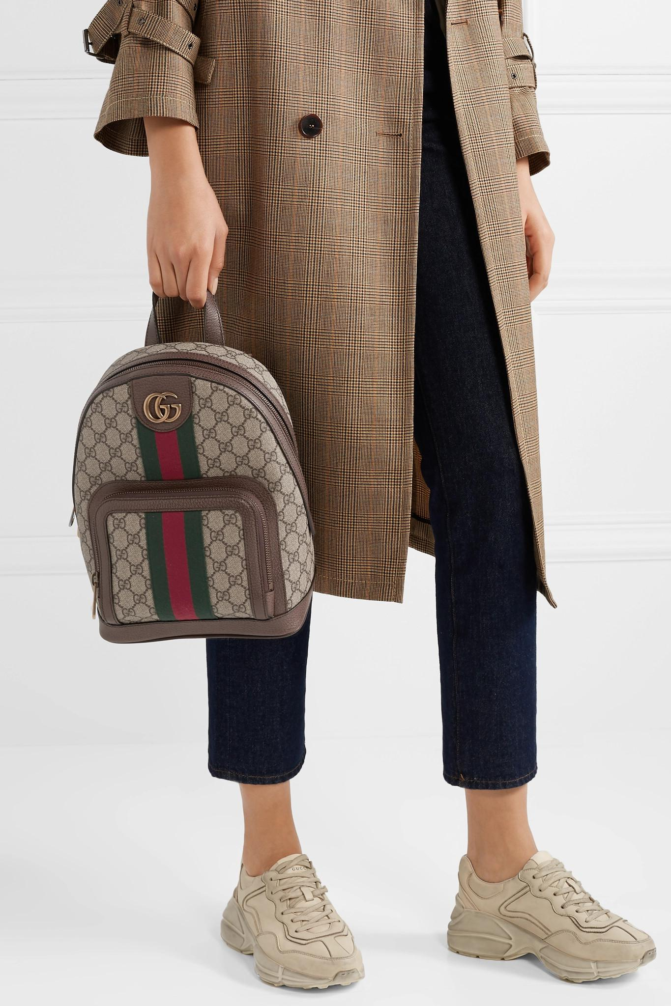 4e763f26f5 Gucci Ophidia Small Textured Leather-trimmed Printed Coated-canvas ...