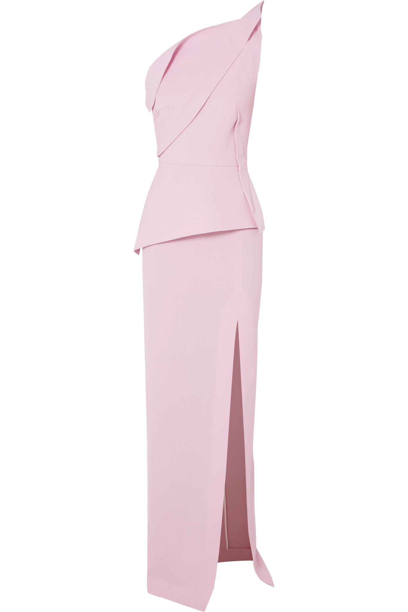 b2128299559492 Roland Mouret Acosta One-shoulder Wool-crepe Gown in Pink - Lyst