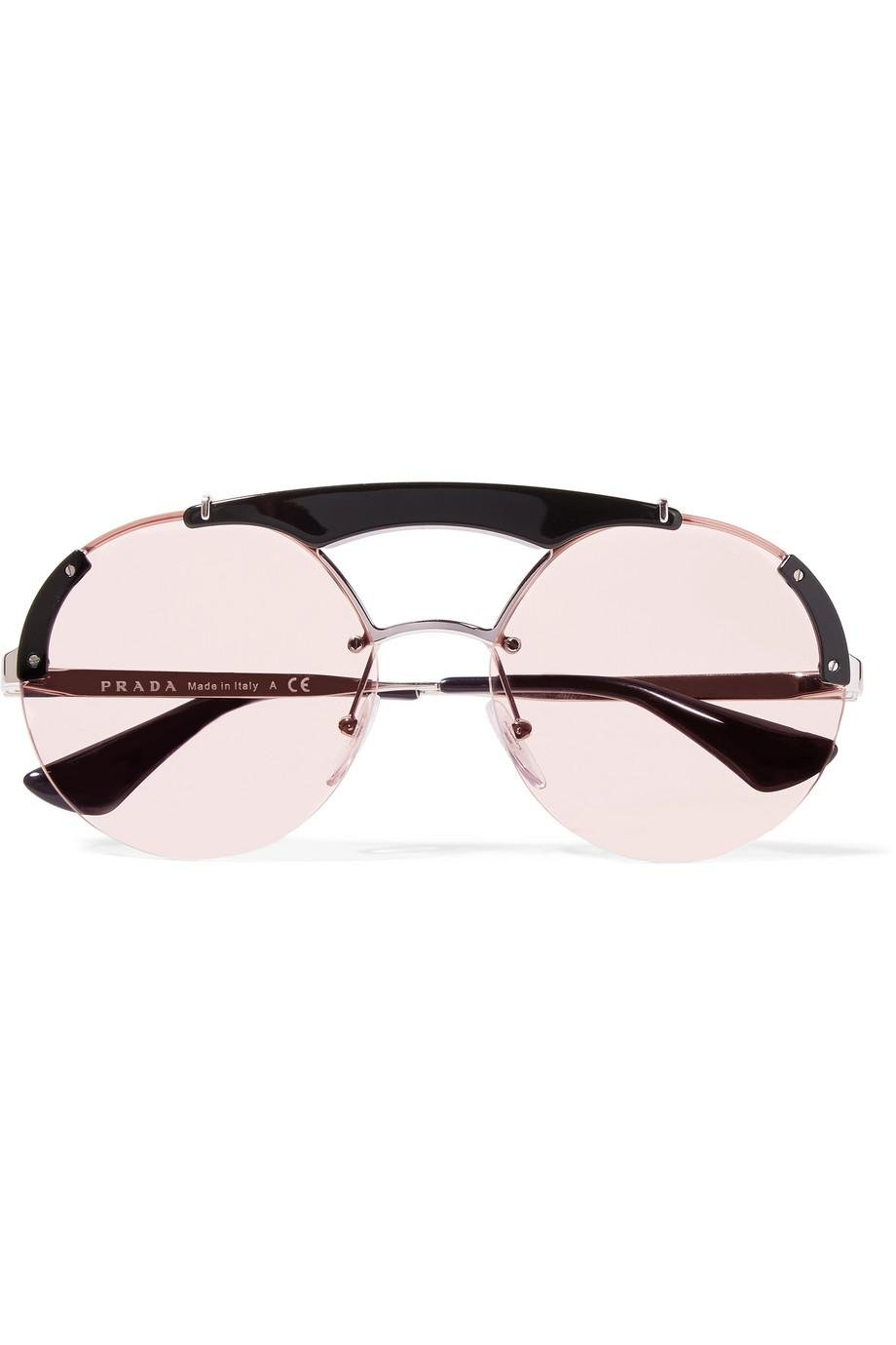 458c24a8ba25f Lyst - Prada Round-frame Acetate And Silver-tone Sunglasses in Pink