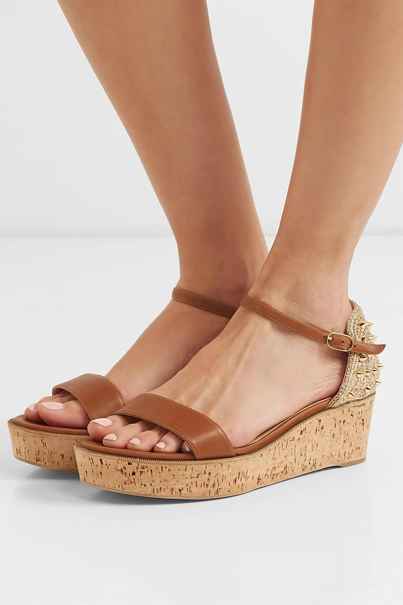 2ba6d2350f4e Christian Louboutin - Brown Bellamonica 60 Spiked Leather Espadrille Wedge  Sandals - Lyst. View fullscreen
