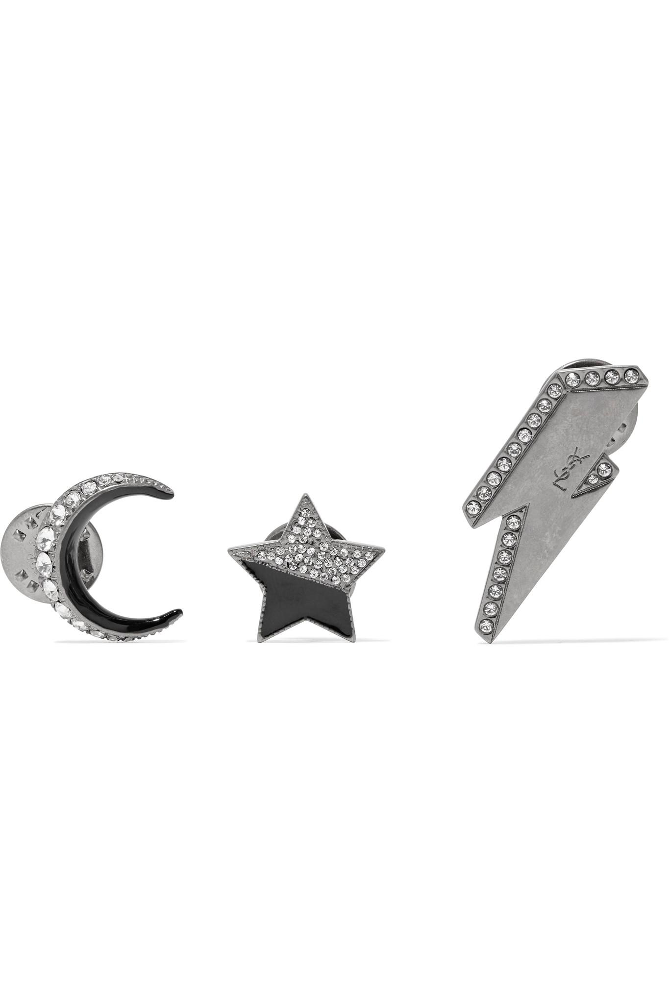Saint Laurent Set Of Three Silver-tone, Crystal And Enamel Brooches