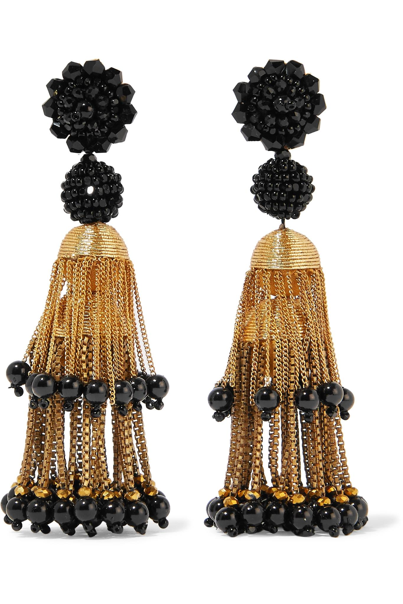 99cd13cc569a Lyst - Oscar de la Renta Gold-tone Beaded Clip Earrings in Black