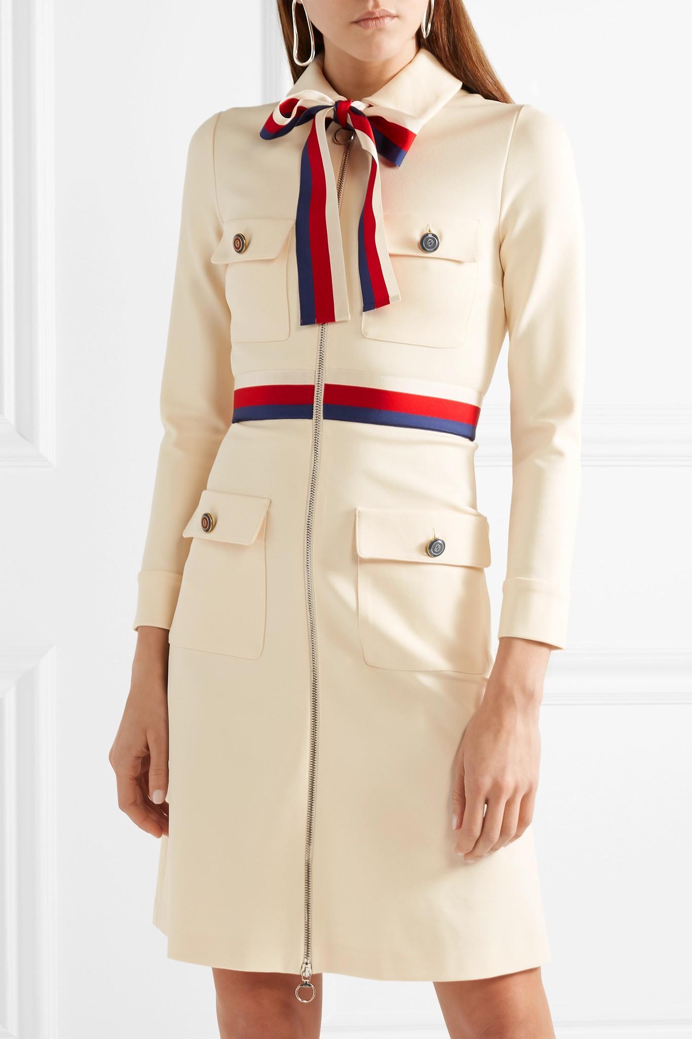 9df7cb1e1 Gucci Grosgrain-trimmed Jersey Mini Dress in White - Lyst