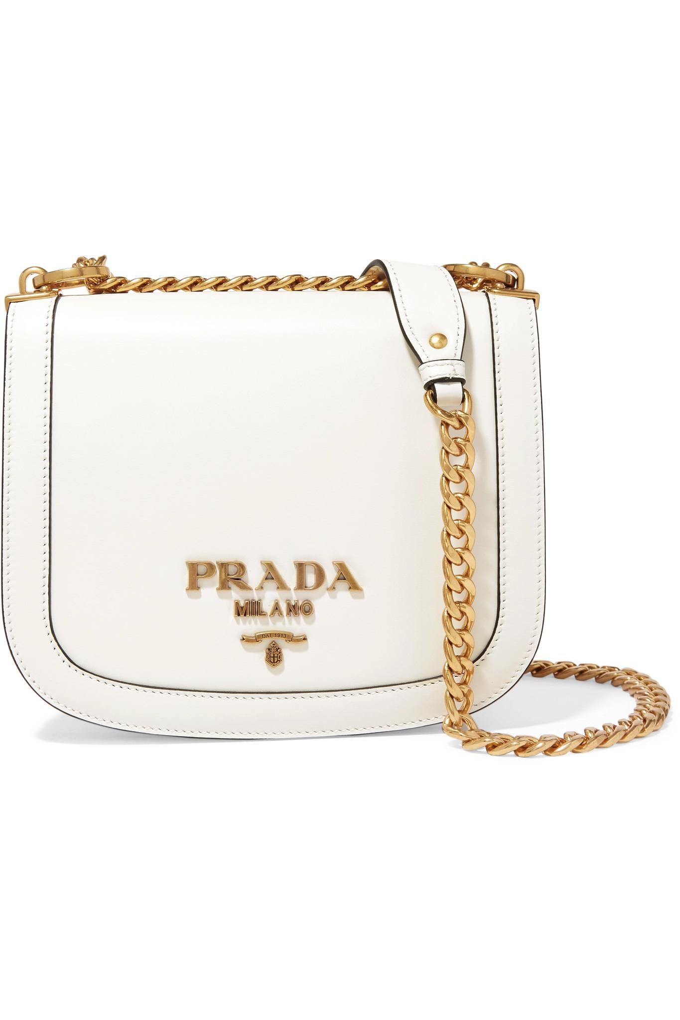 5c3c4cff85f9 Prada - White Pionnière Leather Shoulder Bag - Lyst. View fullscreen