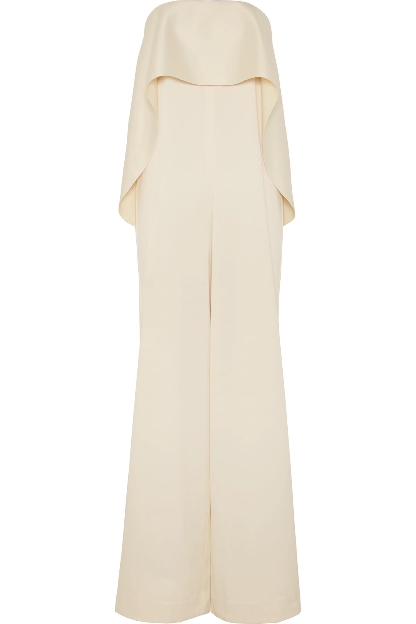 022cf0a069e Solace London Cadenza Ruffled Bonded Satin Jumpsuit in Natural - Lyst