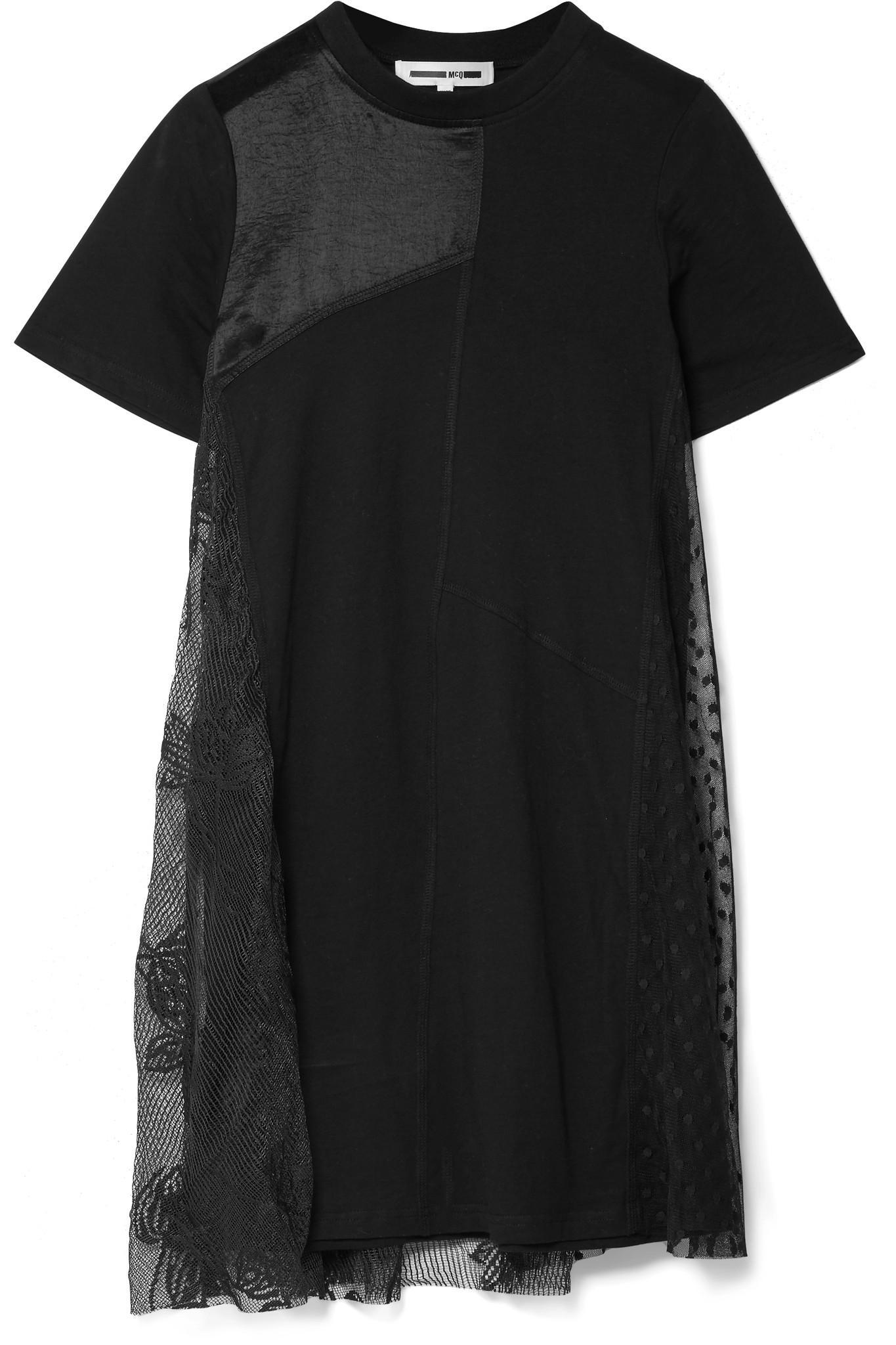 Lace-paneled Jersey Mini Dress - Black Alexander McQueen 1Fwduy