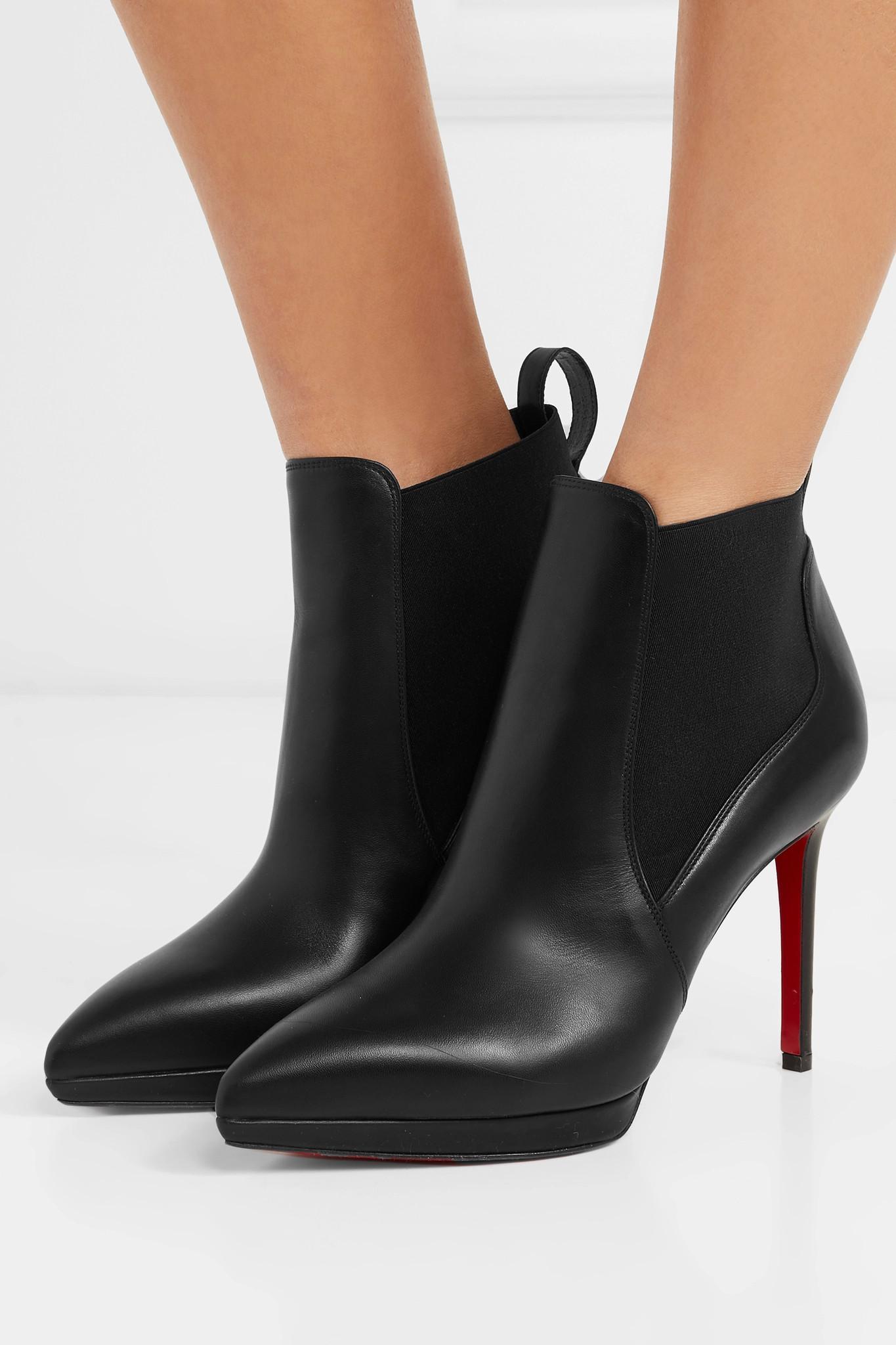 2b77fb38fb57 Christian Louboutin - Black Crochinetta 100 Leather Ankle Boots - Lyst.  View fullscreen