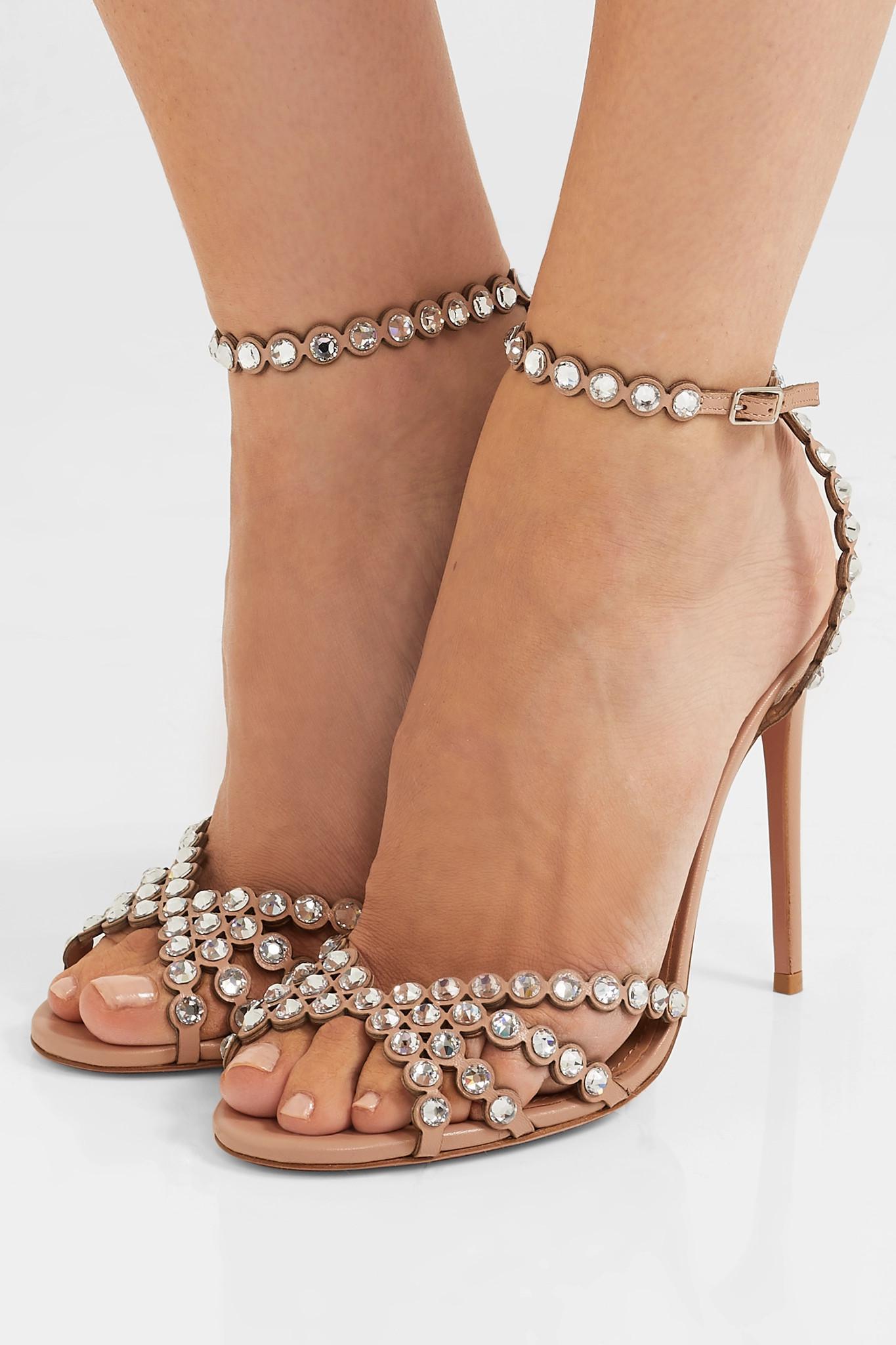d9ec825ad Aquazzura - Multicolor Tequila 105 Crystal-embellished Leather Sandals -  Lyst. View fullscreen