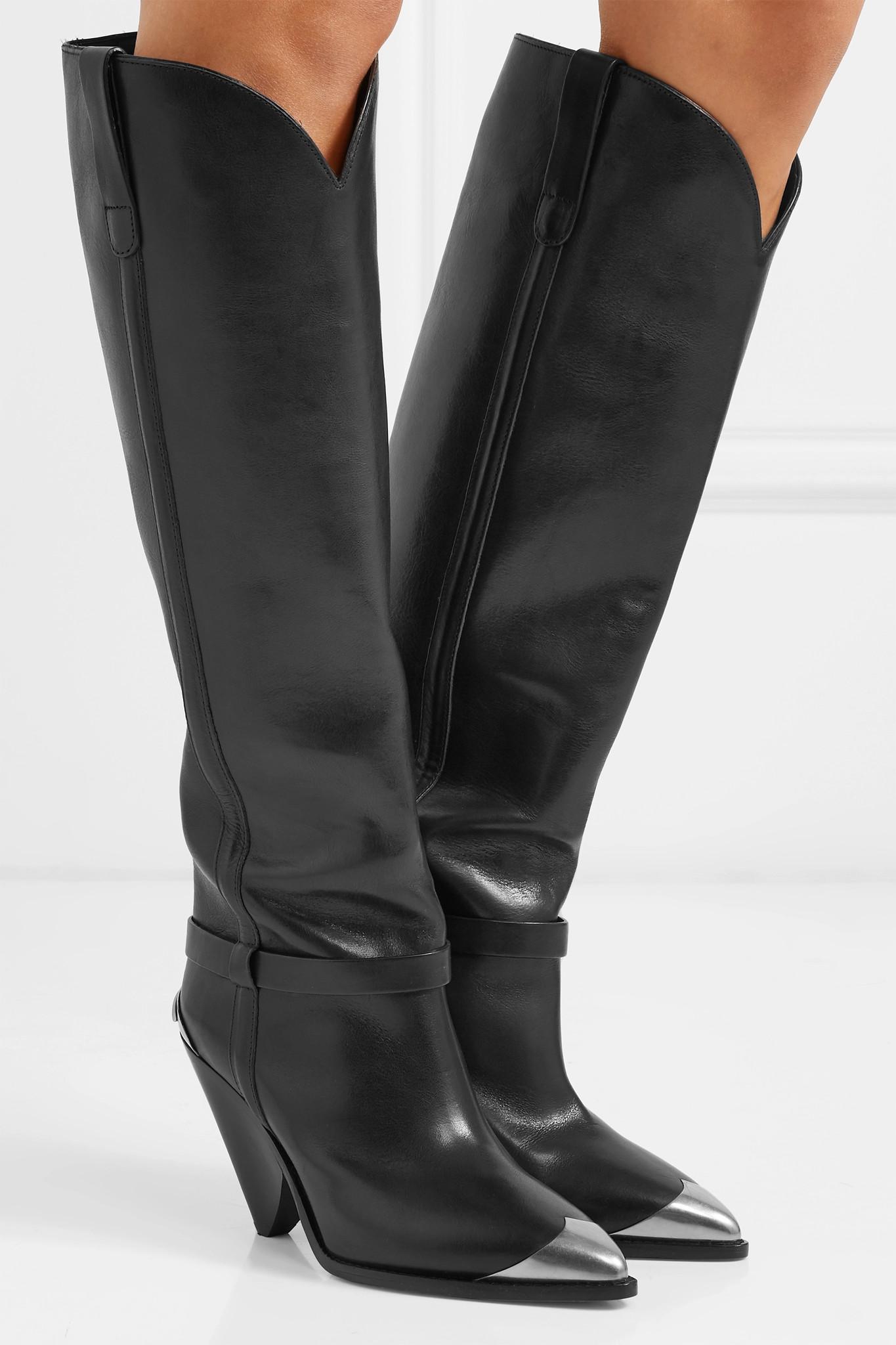 7de4db6cecc Isabel Marant - Black Lenskee Metal-trimmed Leather Knee Boots - Lyst. View  fullscreen
