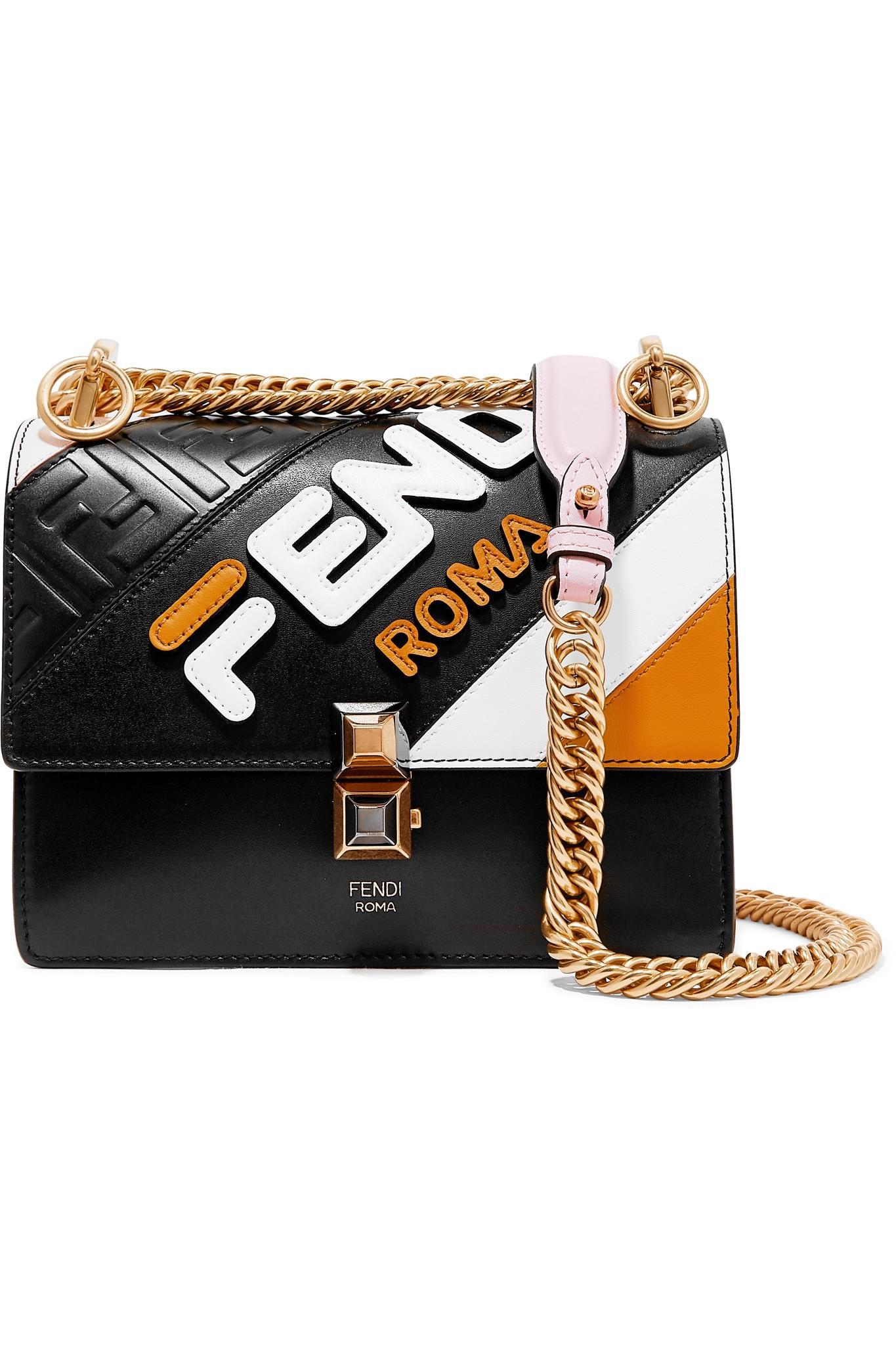 1519563bdb Fendi Kan I Mini Appliquéd Leather Shoulder Bag in Black - Lyst