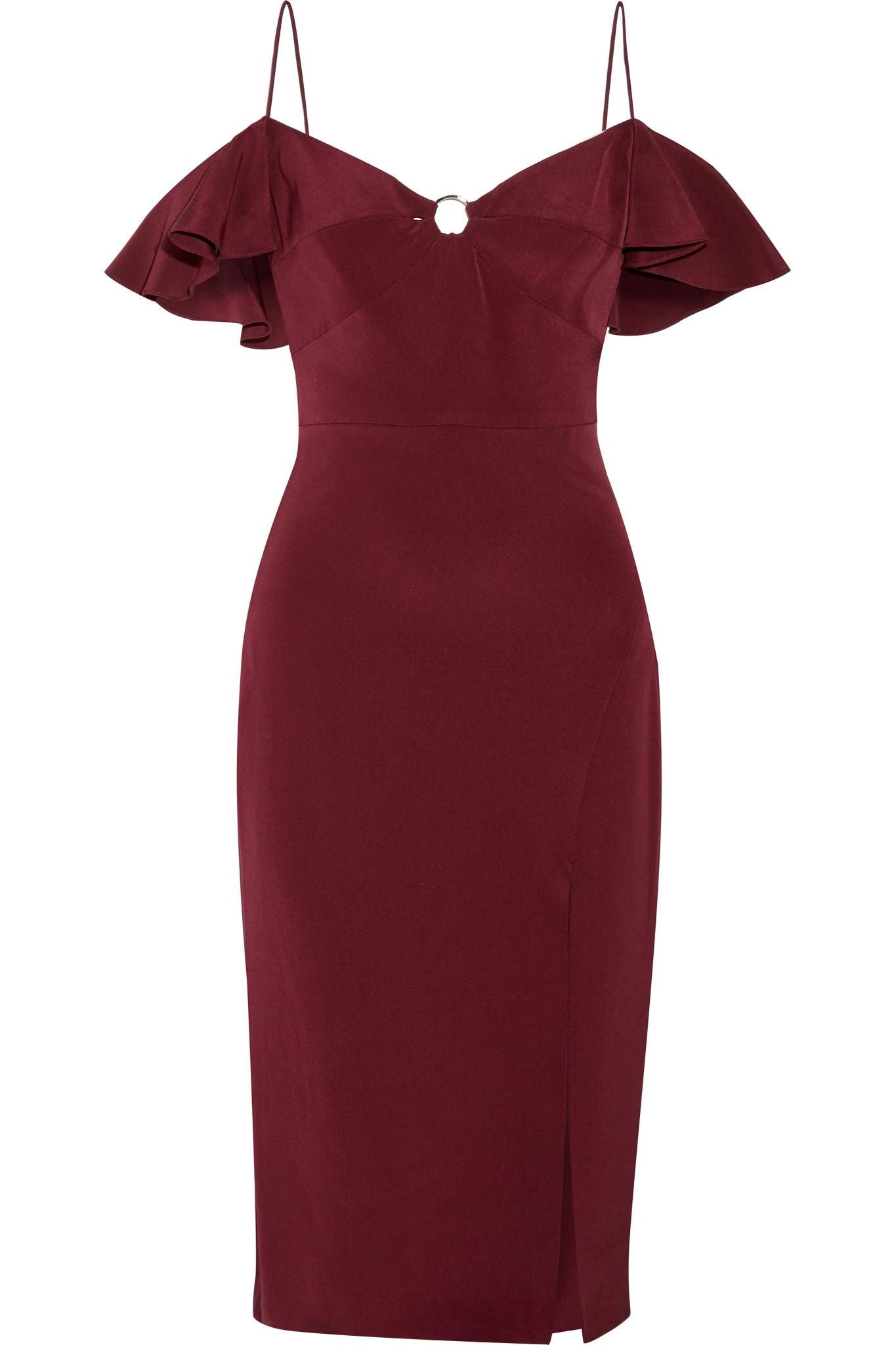 Blake Cold-shoulder Silk-georgette Dress - Merlot Cushnie et Ochs 6d9EjR6X