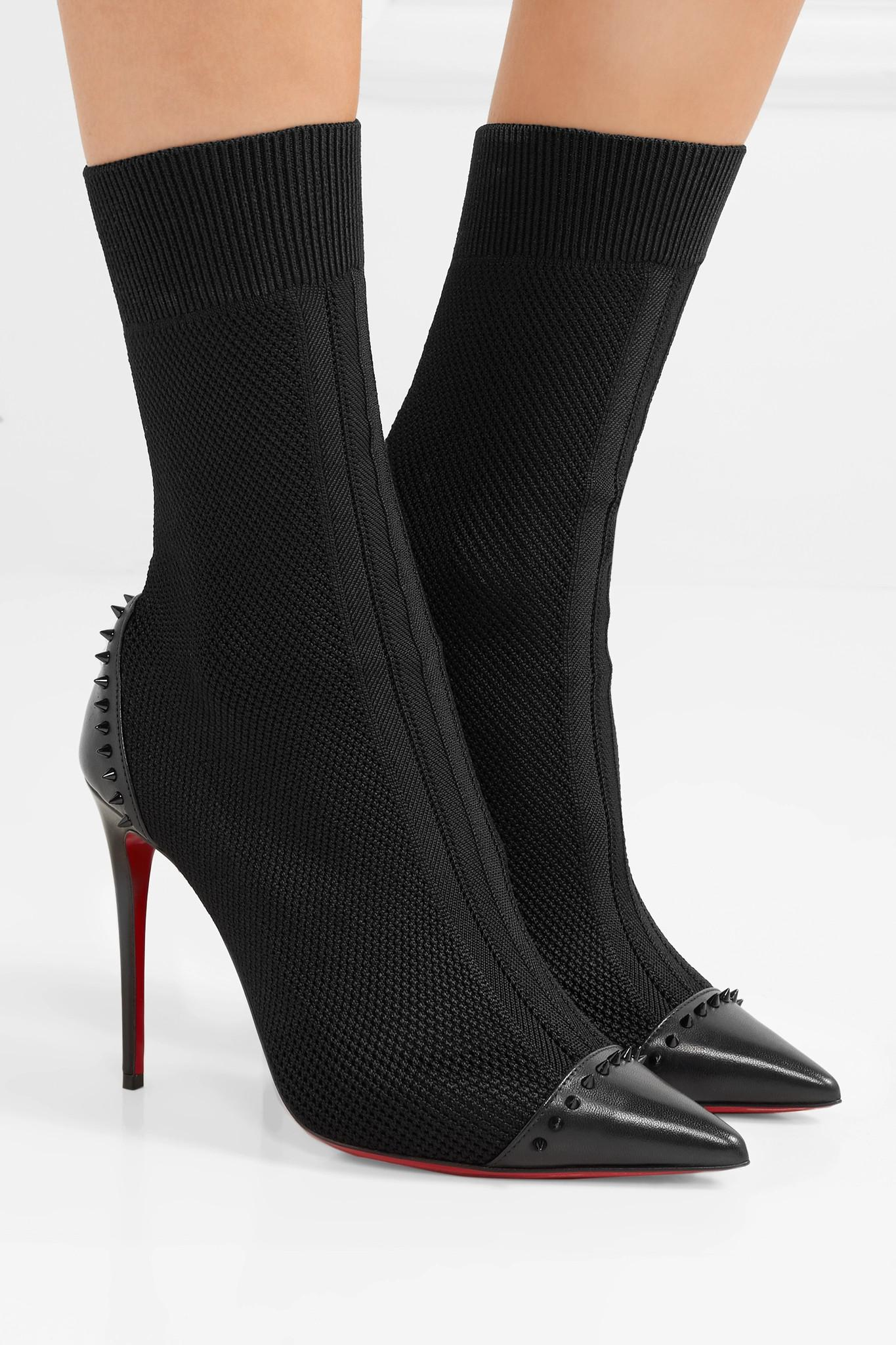 60a8275c78ab Christian Louboutin - Black Dovi Dova 100 Studded Leather-trimmed Stretch- knit Sock Boots. View fullscreen