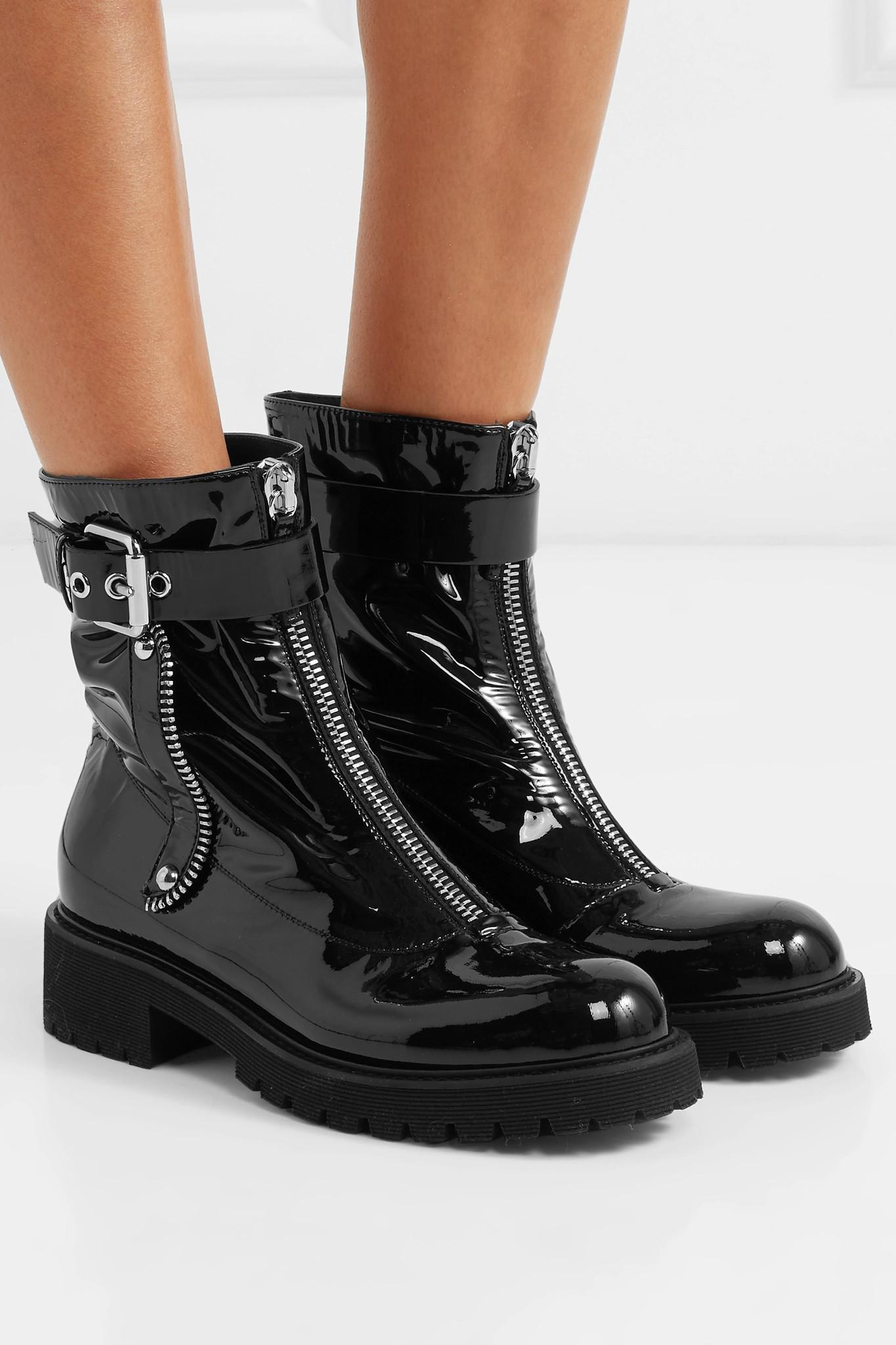 57594d935ff97 Giuseppe Zanotti Patent-leather Combat Boots in Black - Lyst