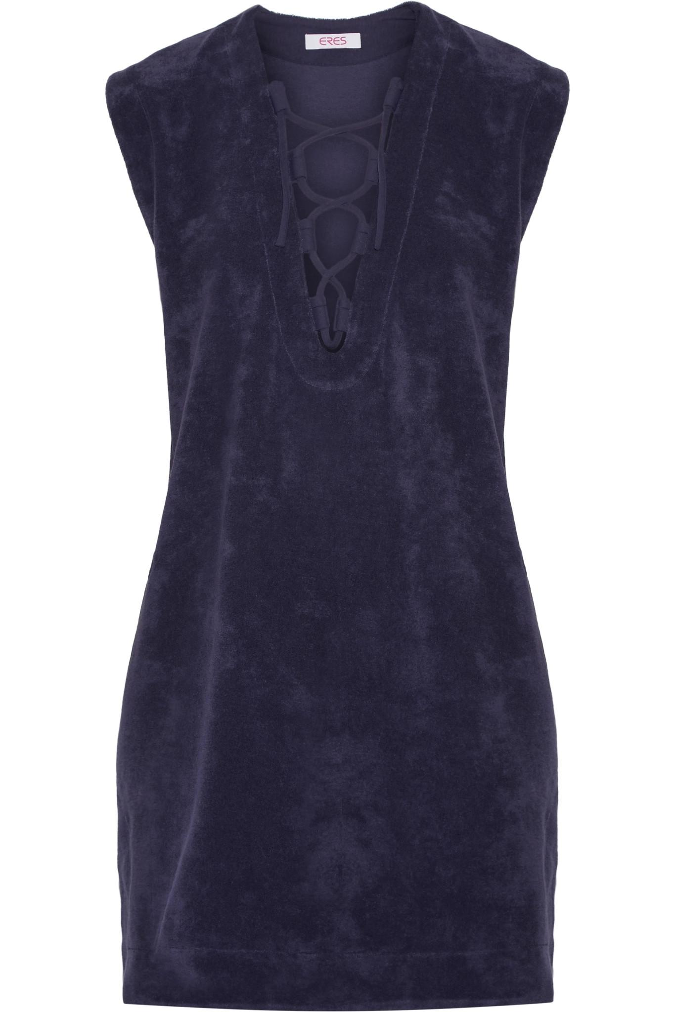 Alison Lace-up Cotton-terry Dress - Dark purple Eres Ebay Online In China Online WnwHTewA2h