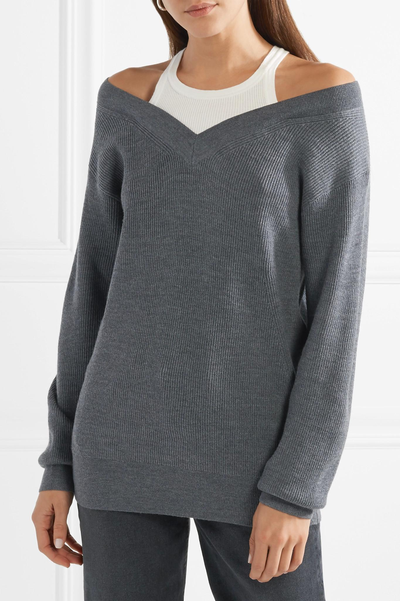 T by alexander wang Off-the-shoulder Layered Ribbed Merino Wool ...