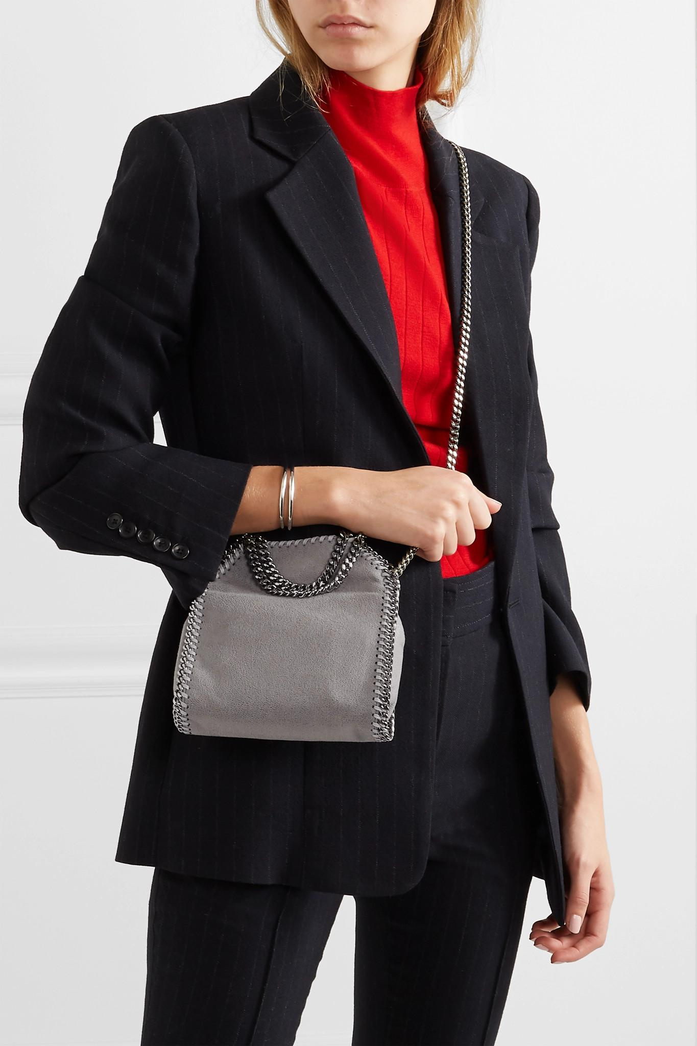82c9df1e42bd Stella McCartney - Gray The Falabella Tiny Faux Brushed-leather Shoulder Bag  - Lyst. View fullscreen