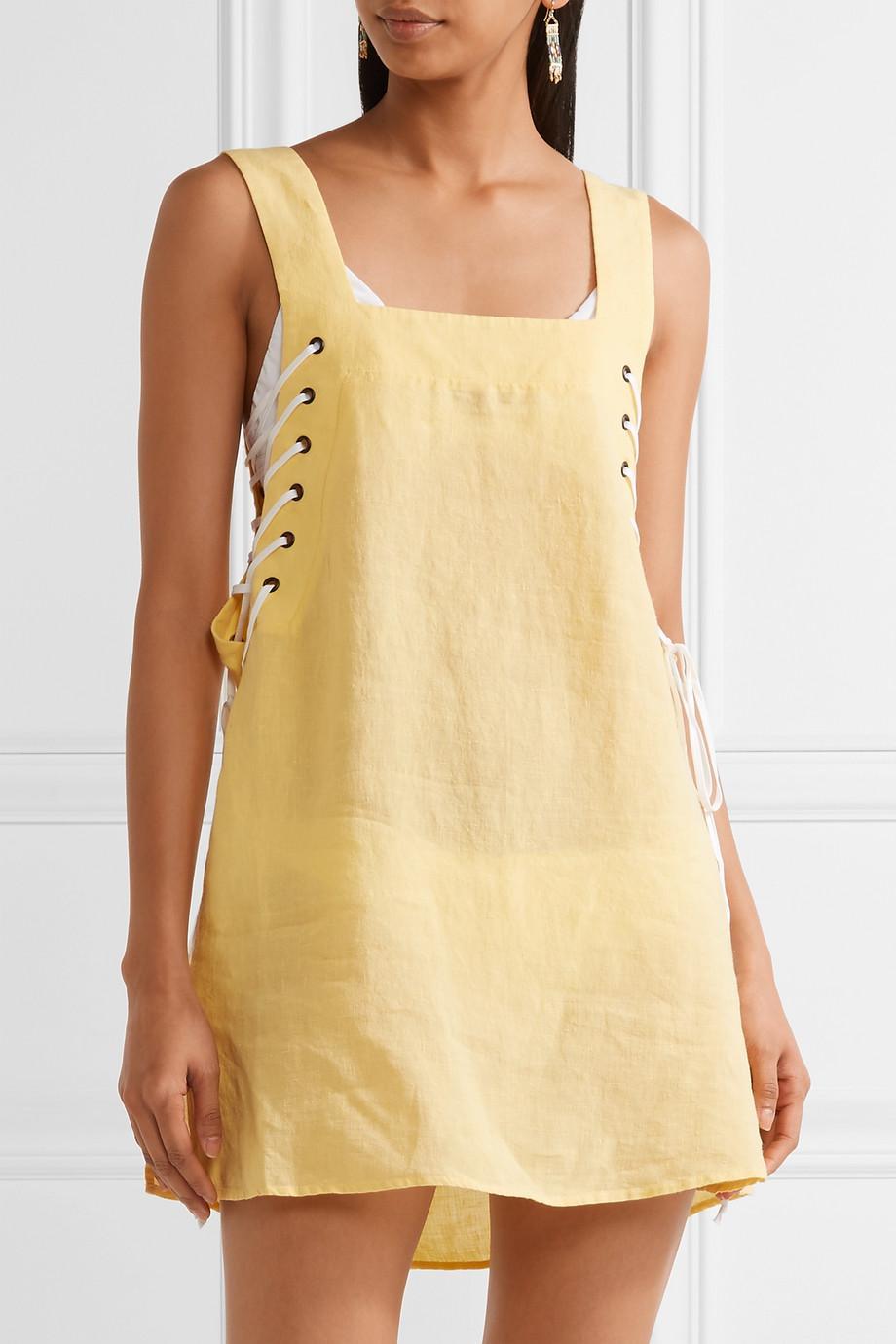 Waikiki Lace-up Linen Mini Dress - Yellow Marysia Swim Top Quality Online nft97