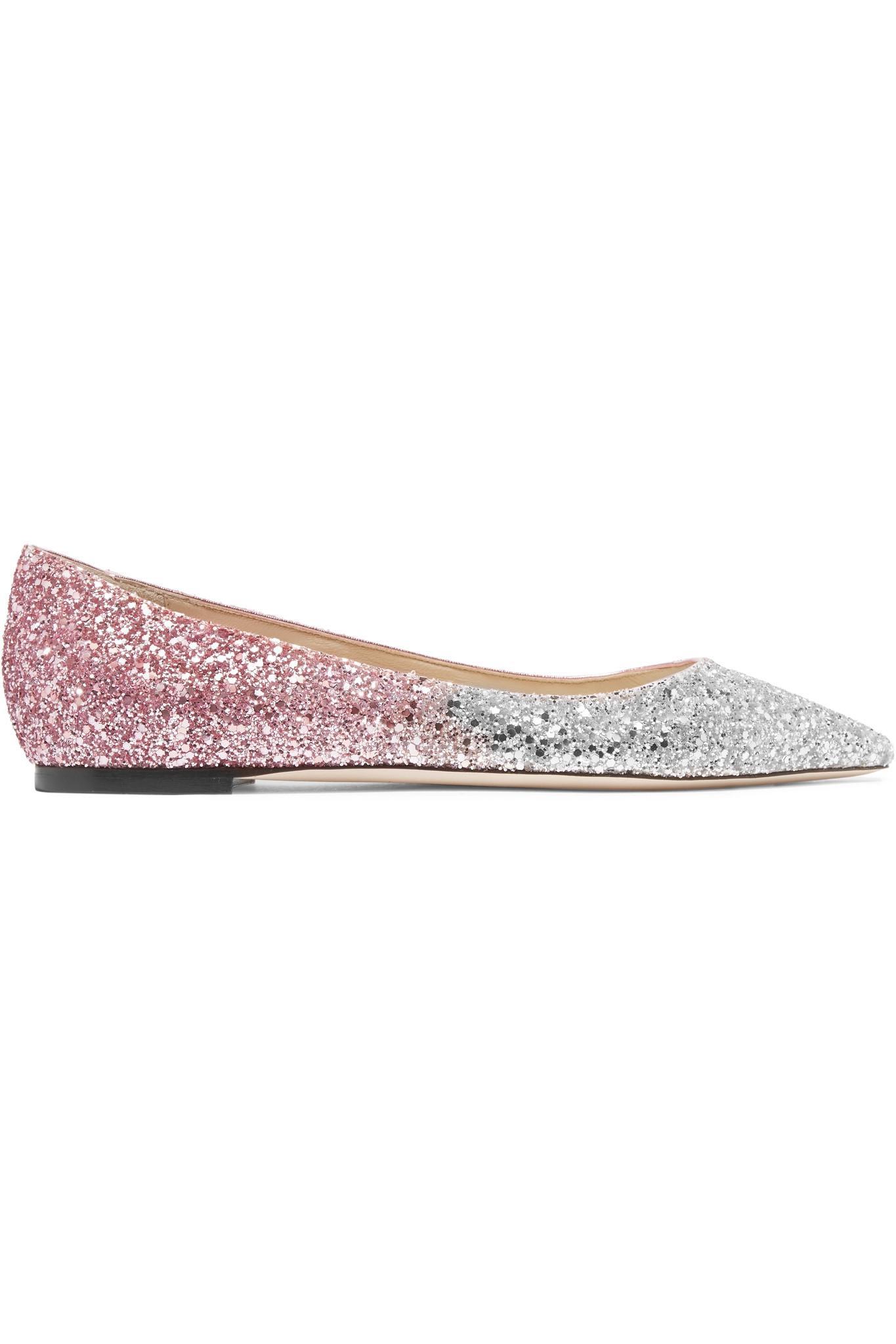 Jimmy Choo. Women's Romy Degradé Glittered Leather Point-toe Flats