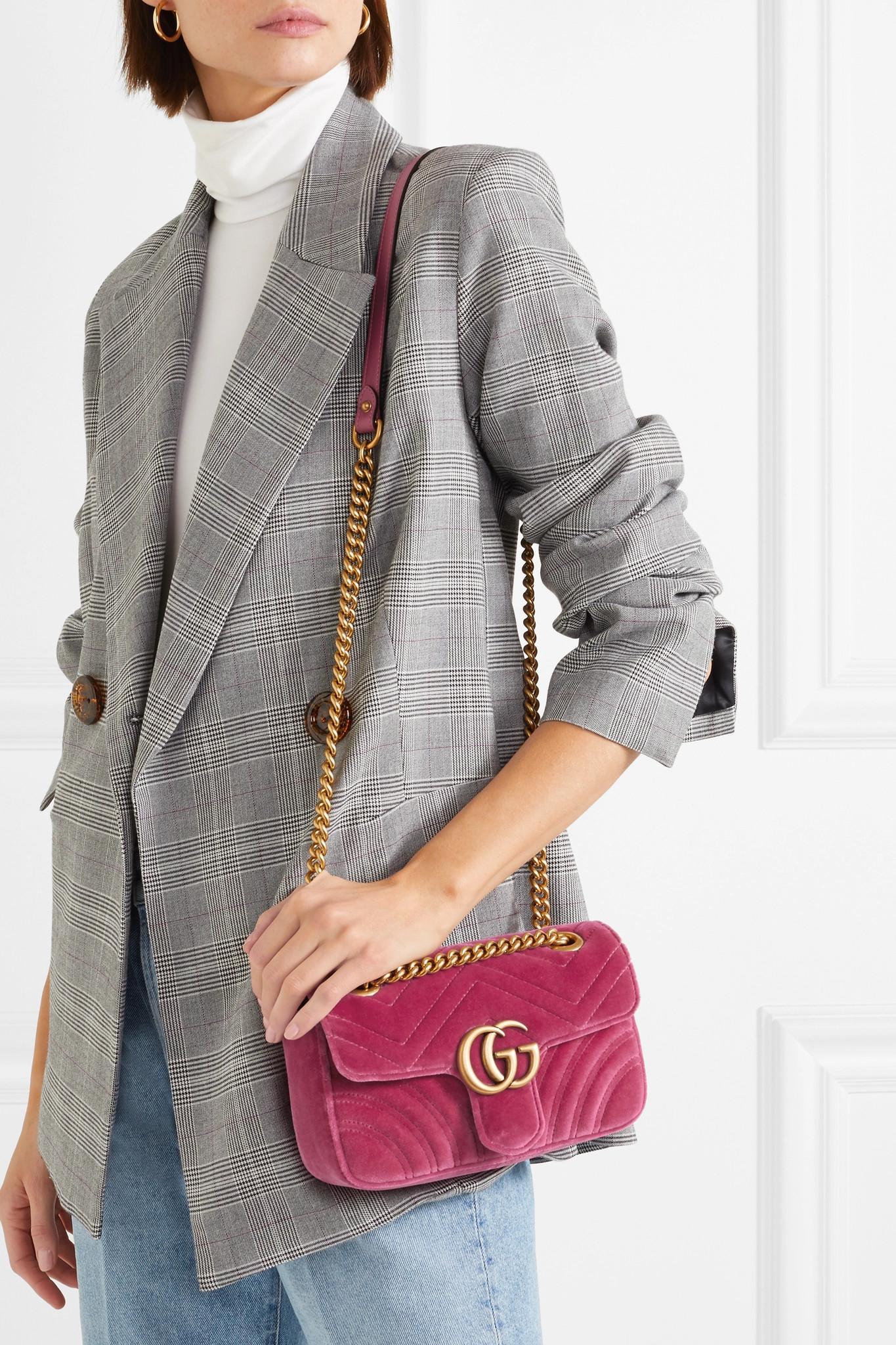 8d89af13ef2 Gucci - Pink Gg Marmont Mini Quilted Velvet Shoulder Bag - Lyst. View  fullscreen