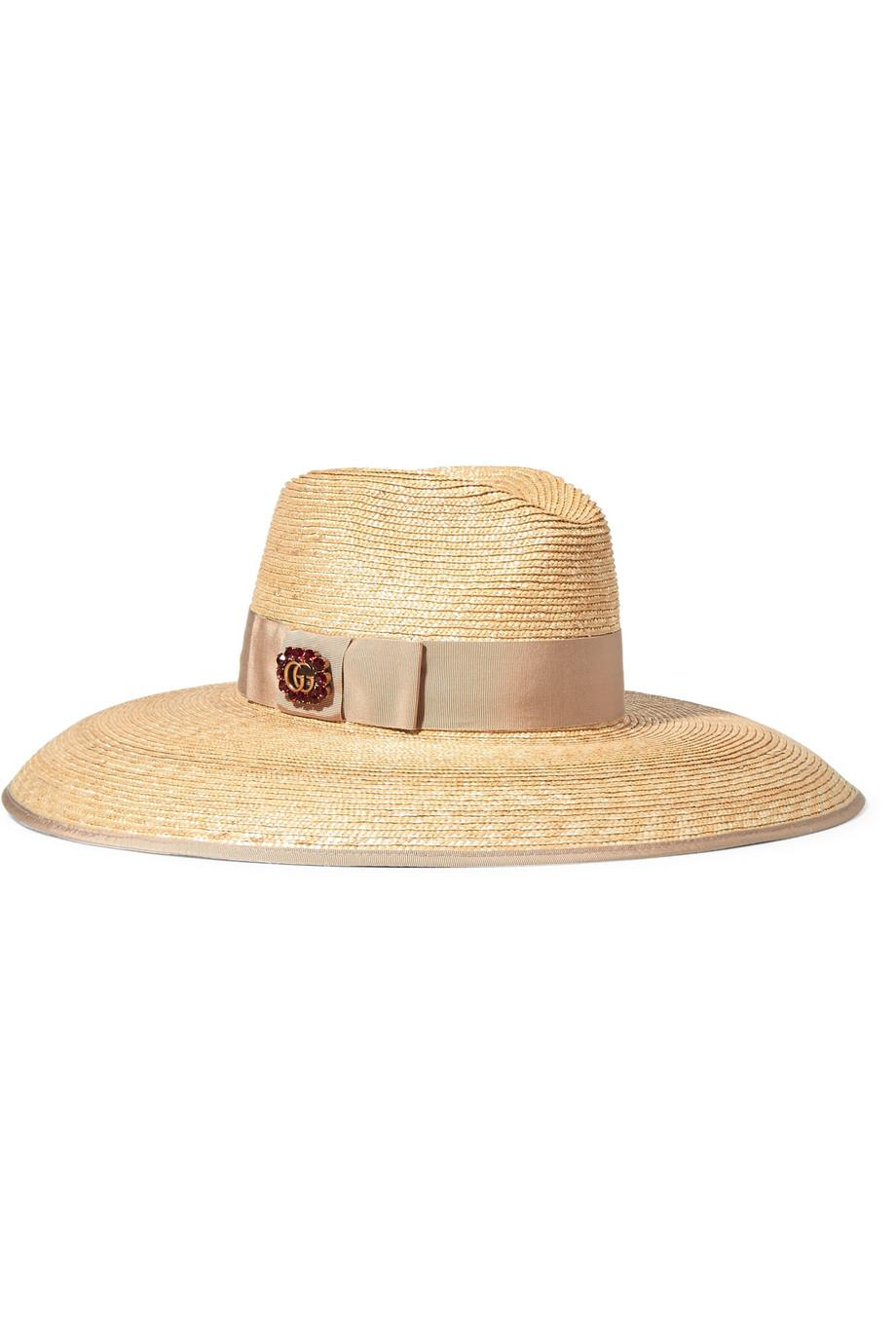 Embellished Grosgrain-trimmed Straw Hat - Beige Gucci QCY9vWW3