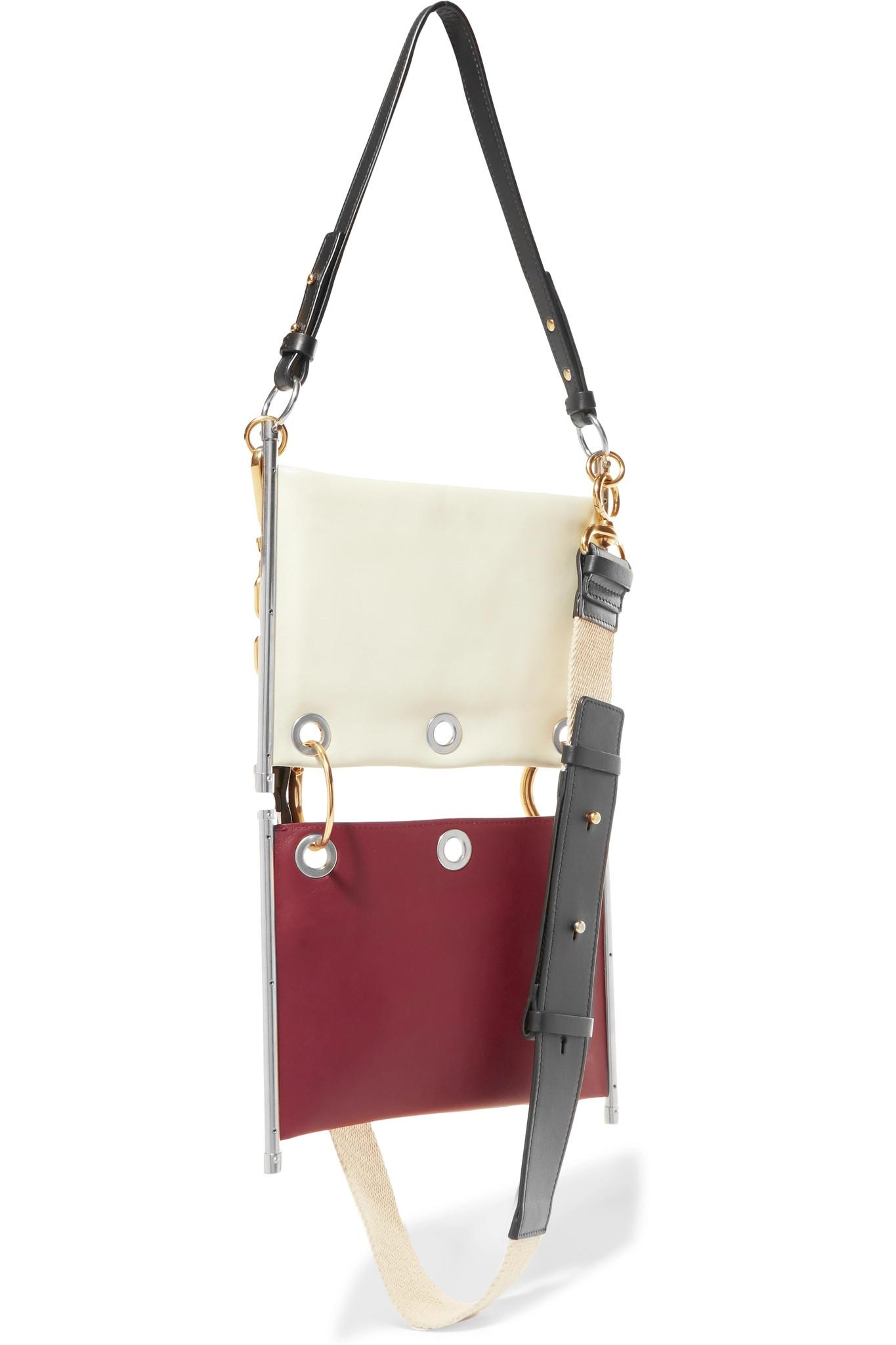 12d31feb101c Lyst - Chloé Roy Convertible Two-tone Leather Shoulder Bag in White
