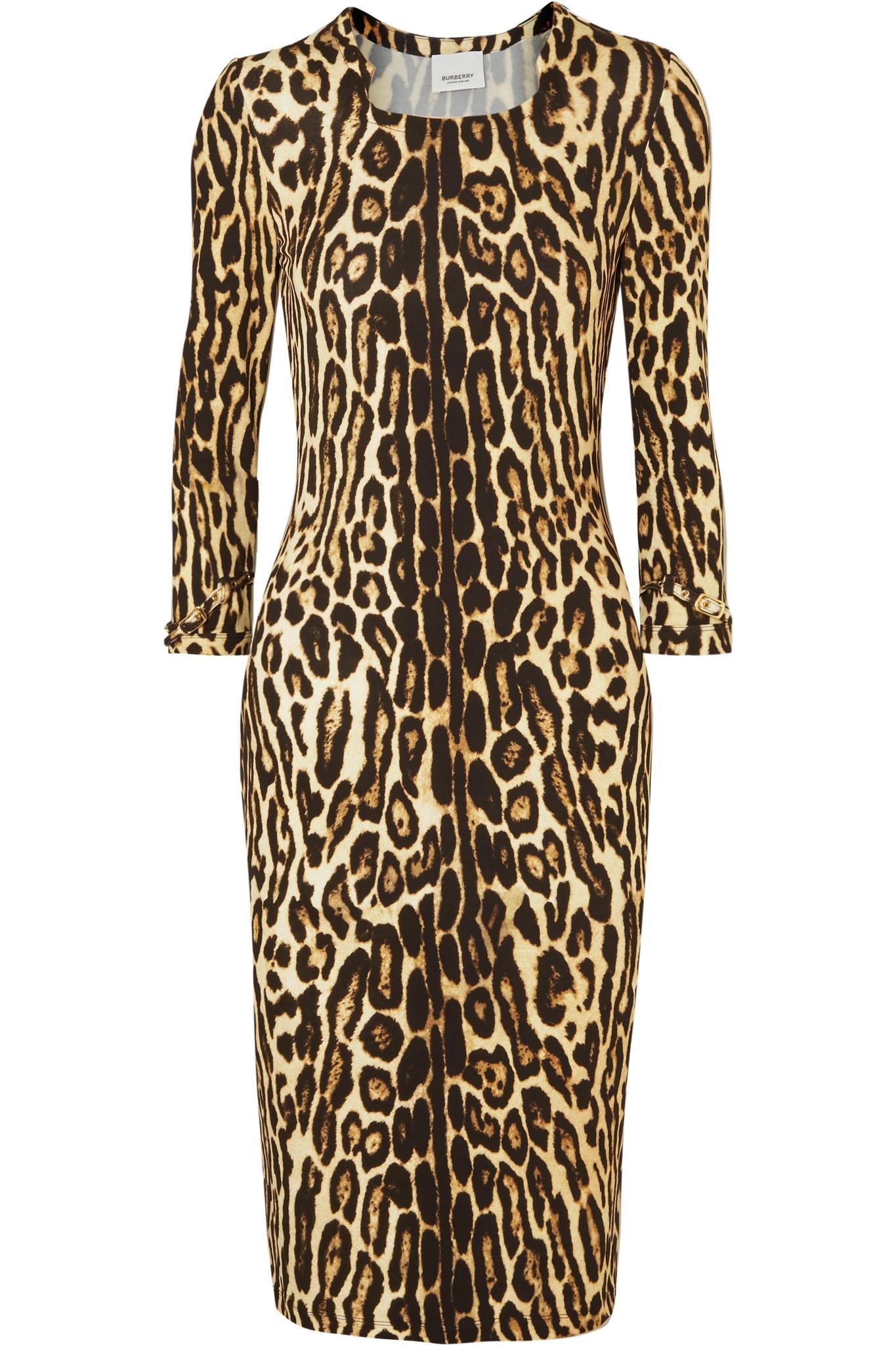 c3b3d6975beb Lyst - Burberry Leopard-print Stretch-jersey Dress
