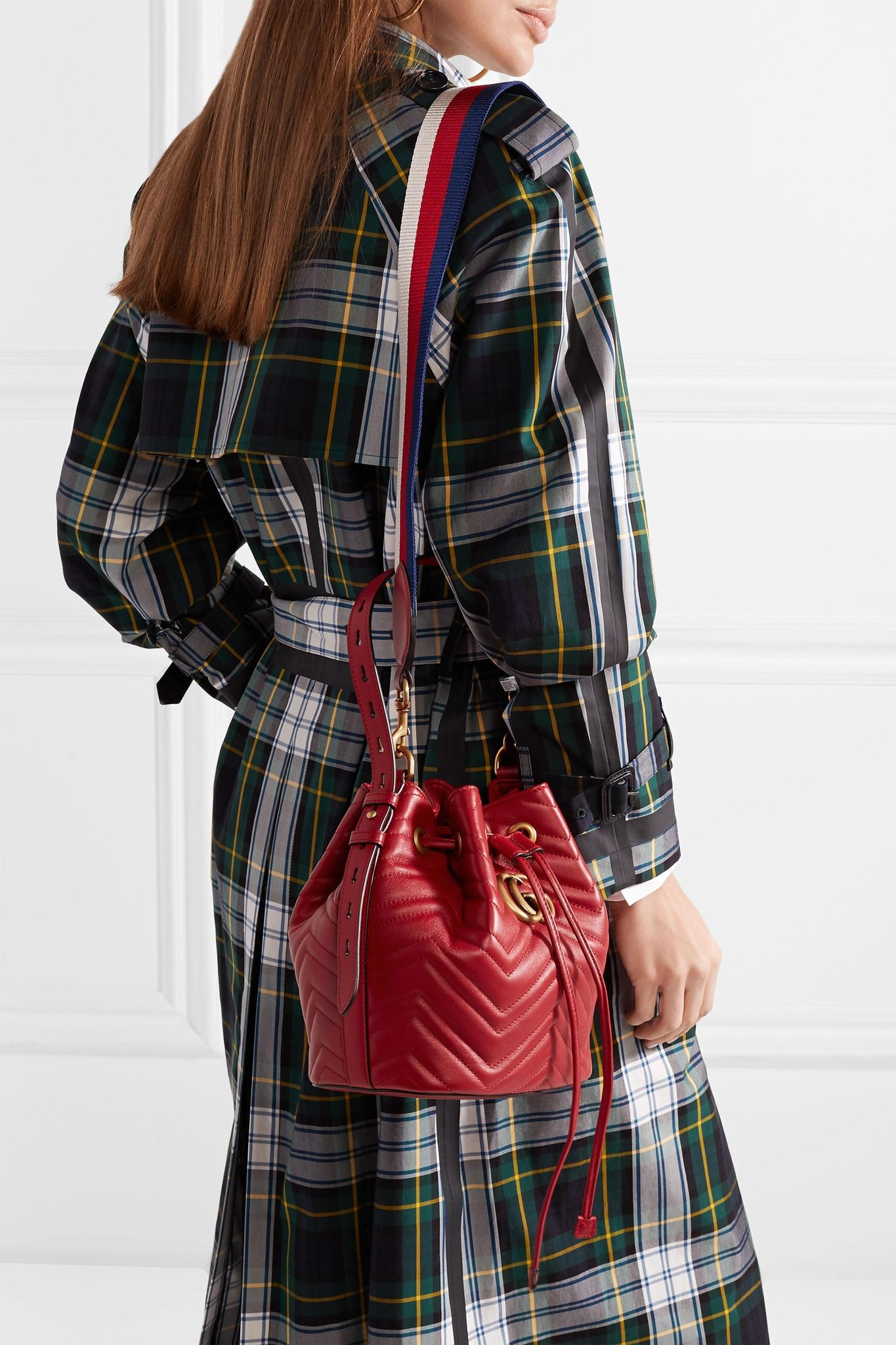 f0c03fd1aea Gucci - Red Gg Marmont Quilted Leather Bucket Bag - Lyst. View fullscreen