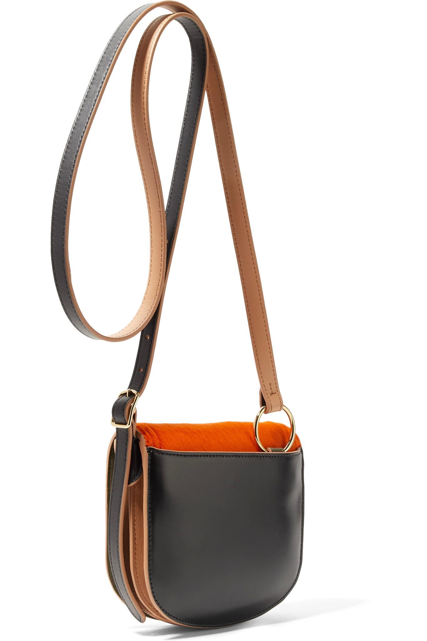 Saddle Mini Calf Hair And Leather Shoulder Bag - Navy Diane Von F eXVDcMtI