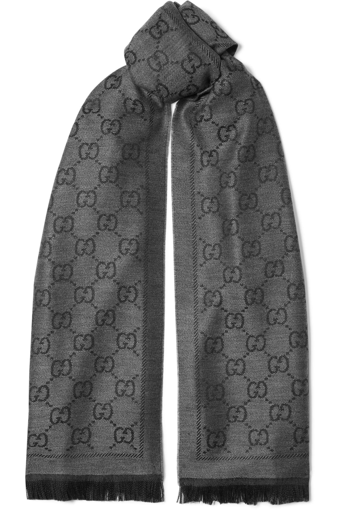 307c9e13a63 Gucci Fringed Wool-jacquard Scarf in Gray - Lyst