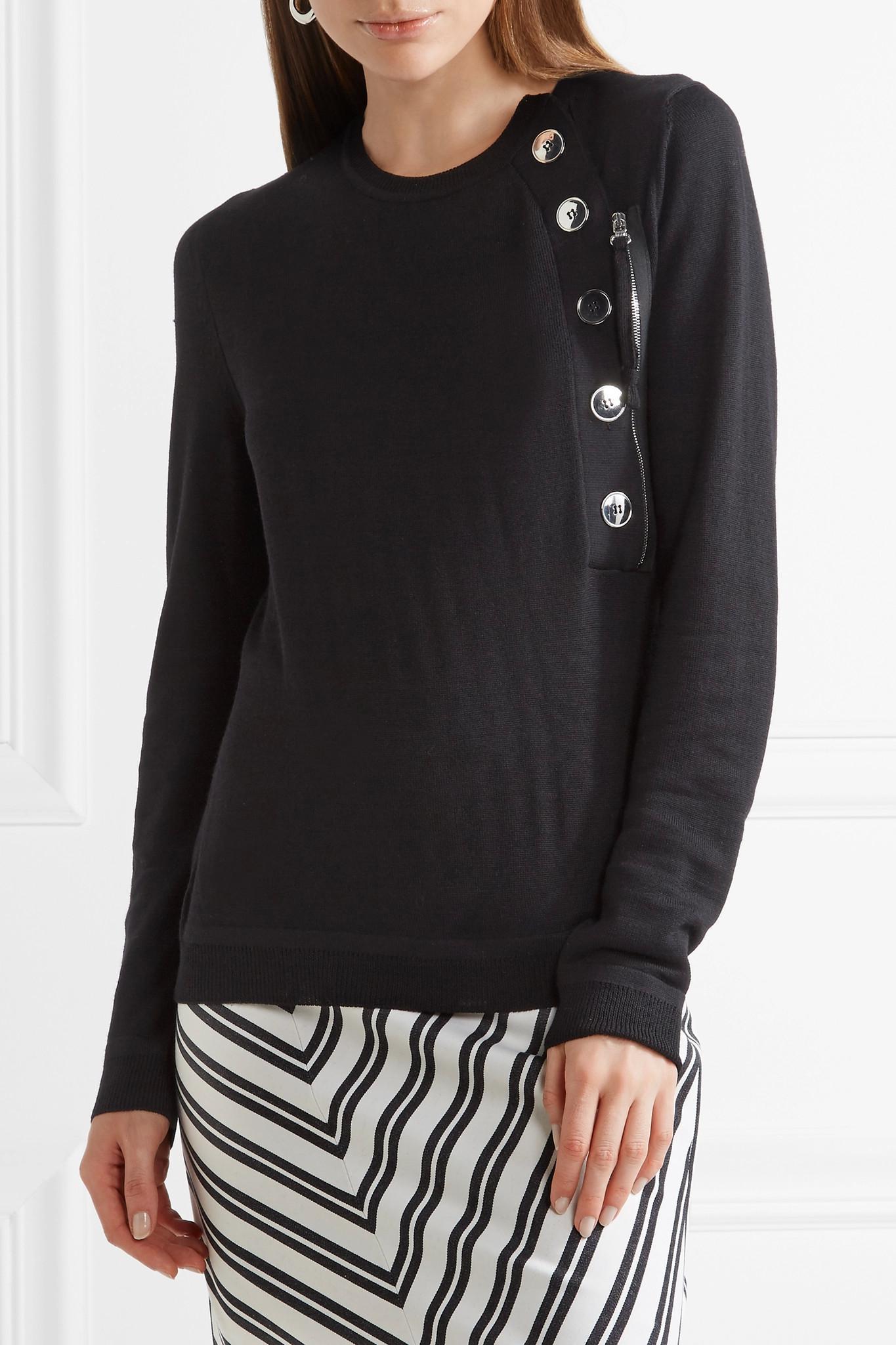 Collier Button-embellished Merino Wool Sweater - Black Altuzarra Cheap Sale Visa Payment hM5gt