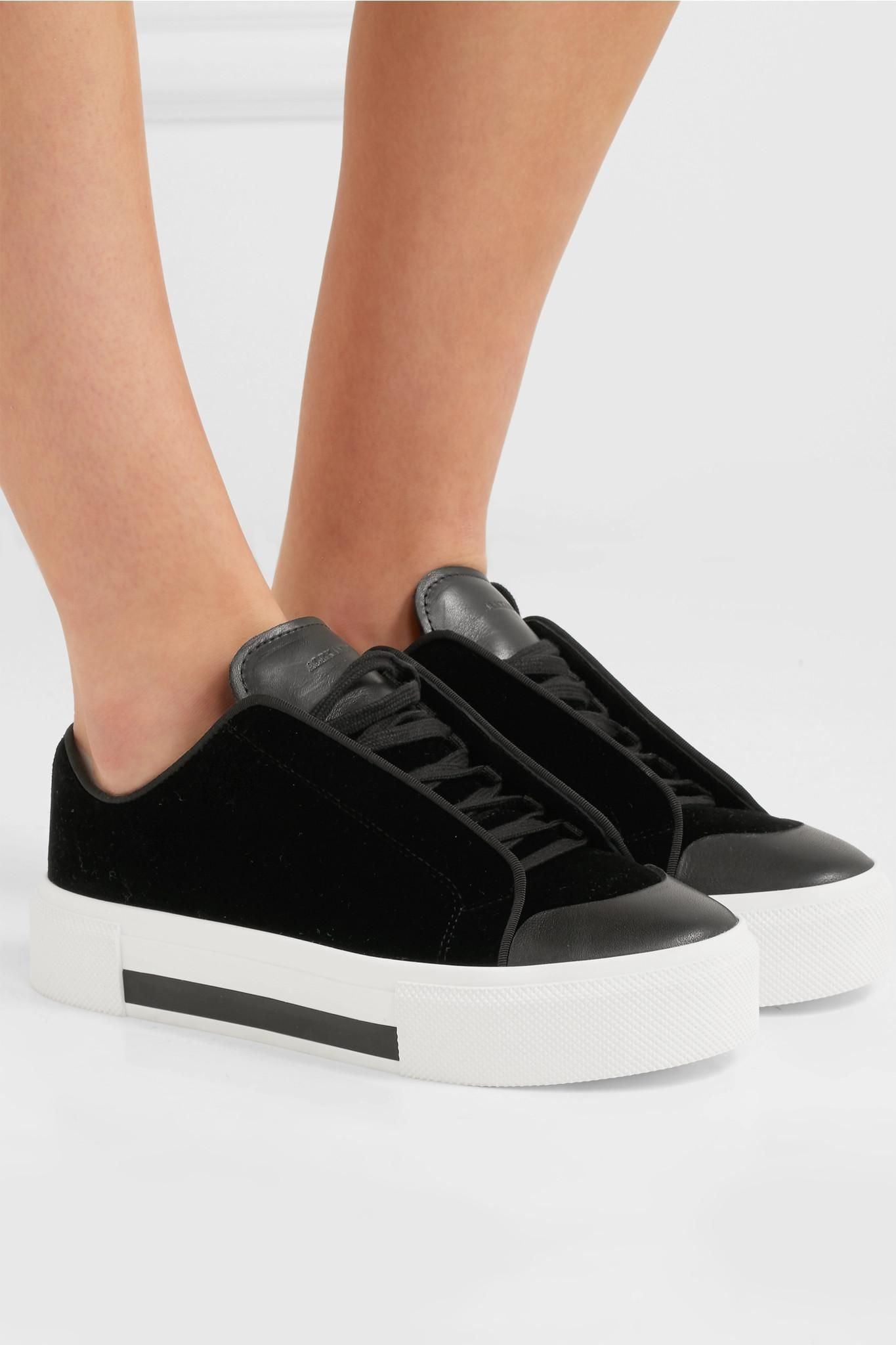 2989ea256b637 Alexander McQueen - Black Velvet And Leather Exaggerated-sole Sneakers -  Lyst. View fullscreen