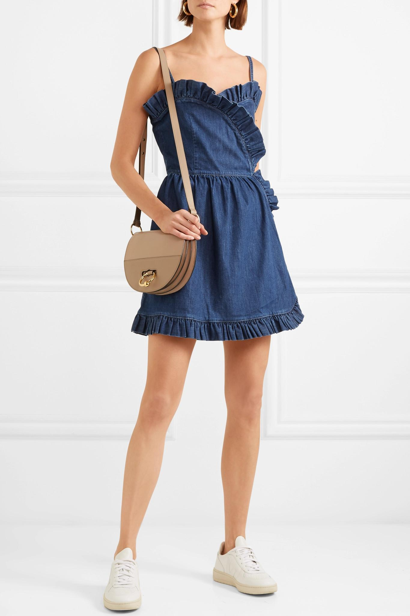 5069a65070 Stella McCartney - Blue Ruffled Denim Wrap Mini Dress - Lyst. View  fullscreen