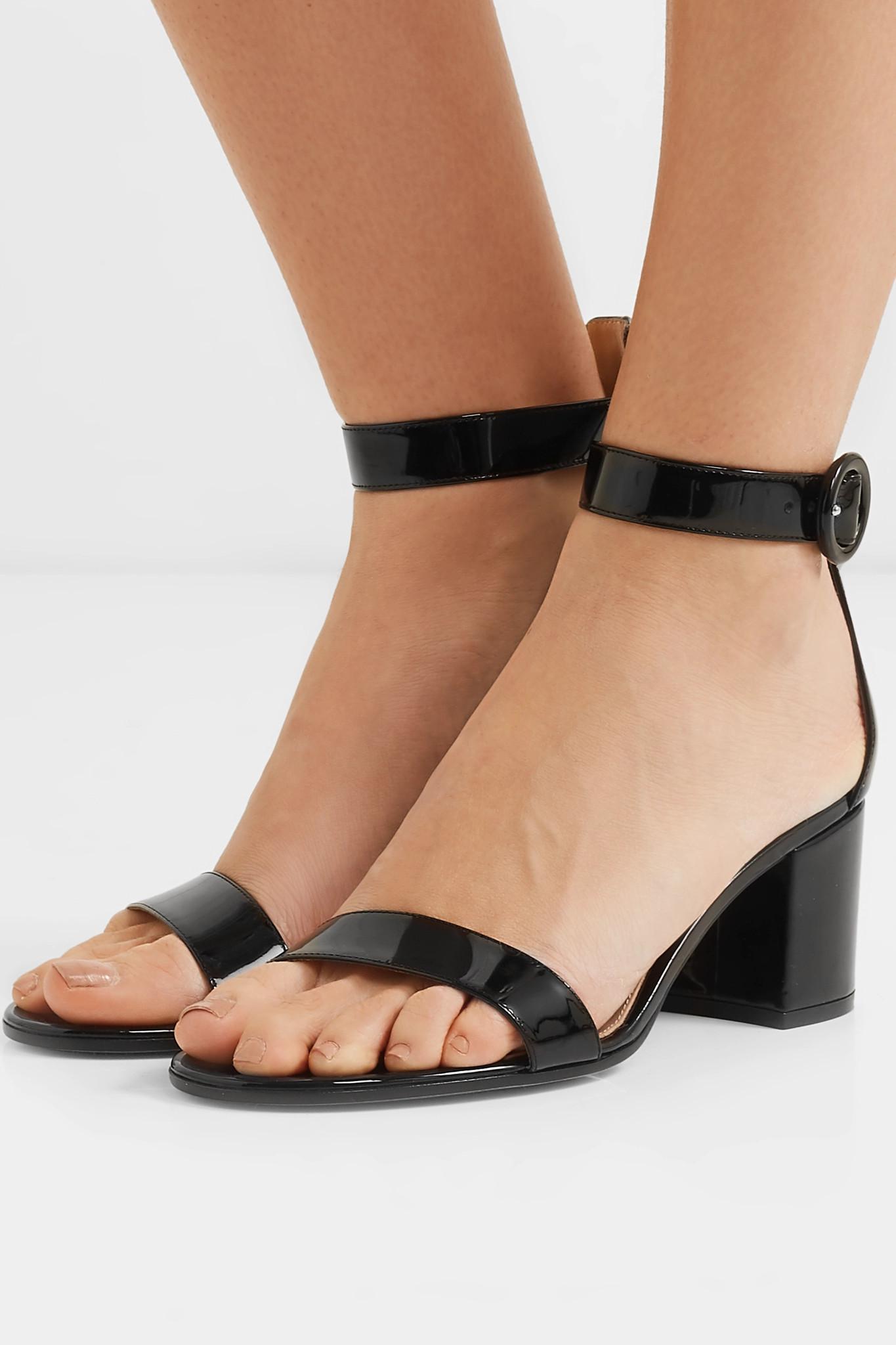b113d77b07f8 Gianvito Rossi - Black Versilia 60 Patent-leather Sandals - Lyst. View  fullscreen