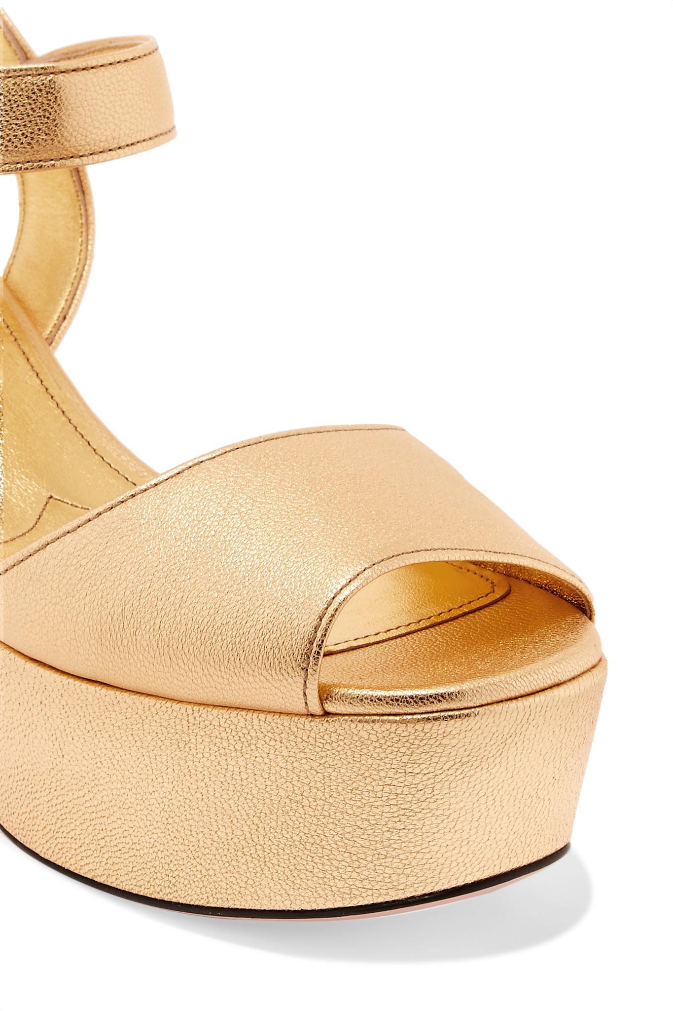 1c3f4e85d29 Prada - Metallic Textured-leather Platform Sandals - Lyst. View fullscreen