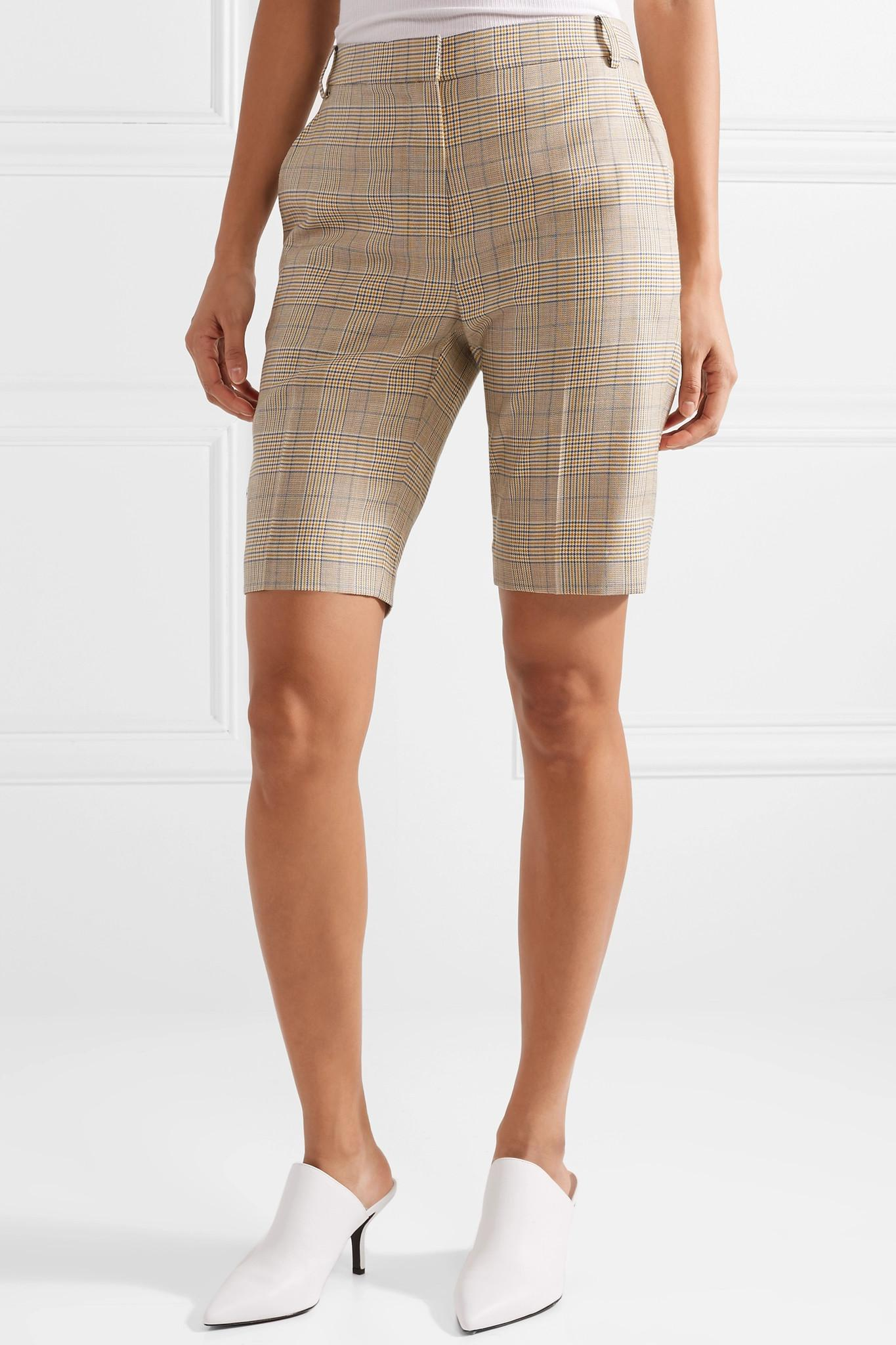 Cooper Prince Of Wales Checked Wool And Silk-blend Shorts - Gray Tibi qis6I