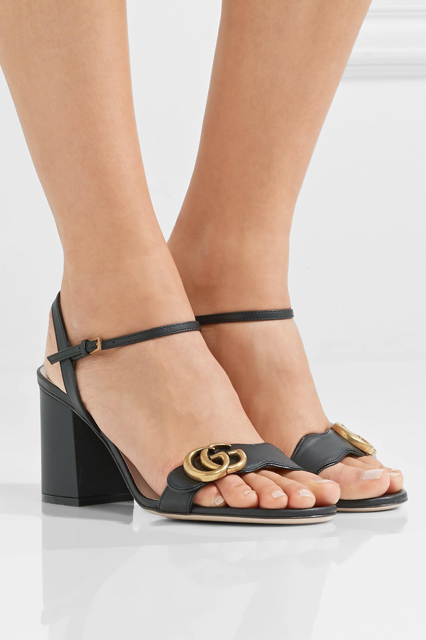 c5eb31e5146d Gucci - Black Marmont Embellished Leather Sandals - Lyst. View fullscreen