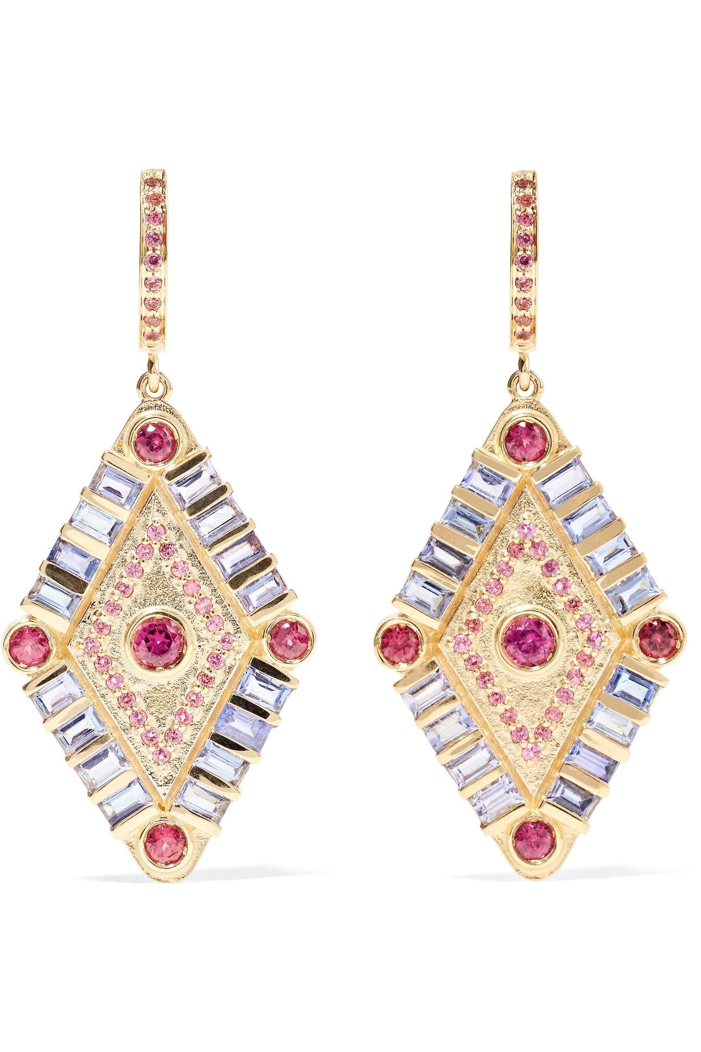 Marlo Laz Shamans Eye 14-karat Gold, Tanzanite And Garnet Earrings