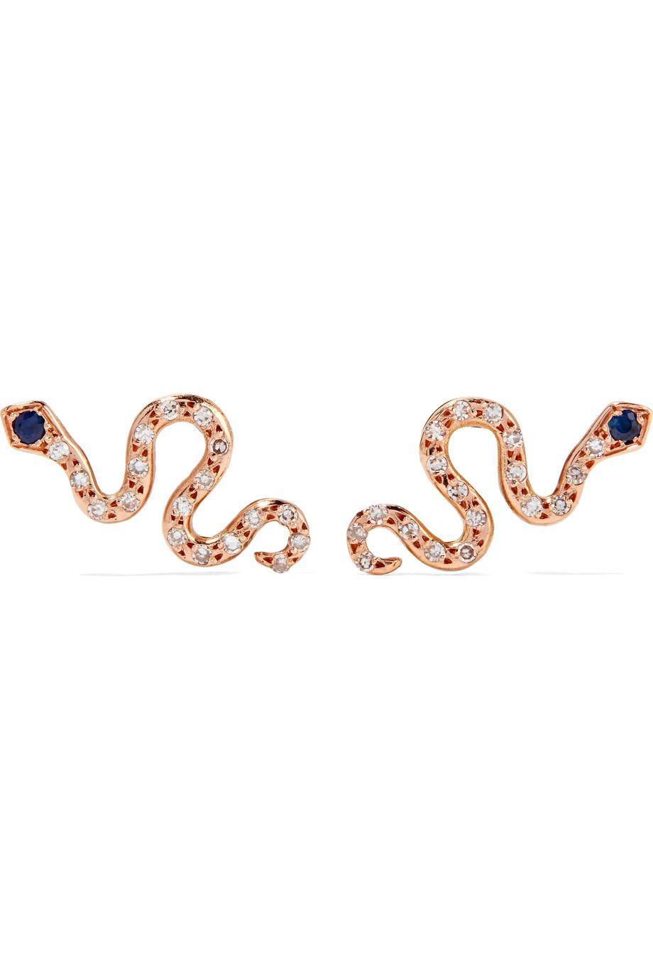 Ileana Makri Little Snake 18-karat Rose Gold, Diamond And Sapphire Earrings