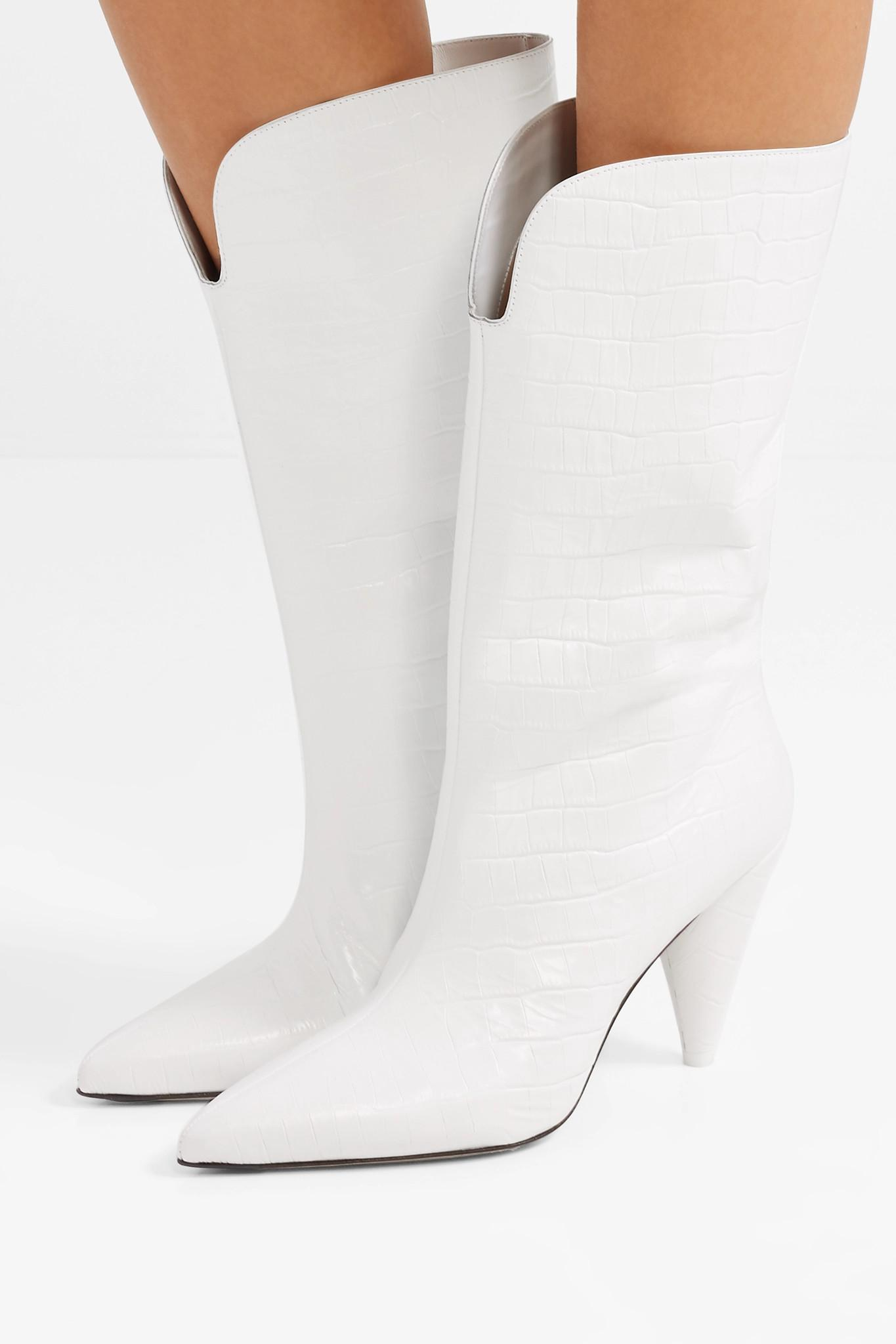 d6f150aa455 Attico - White Betta Croc-effect Leather Knee Boots - Lyst. View fullscreen