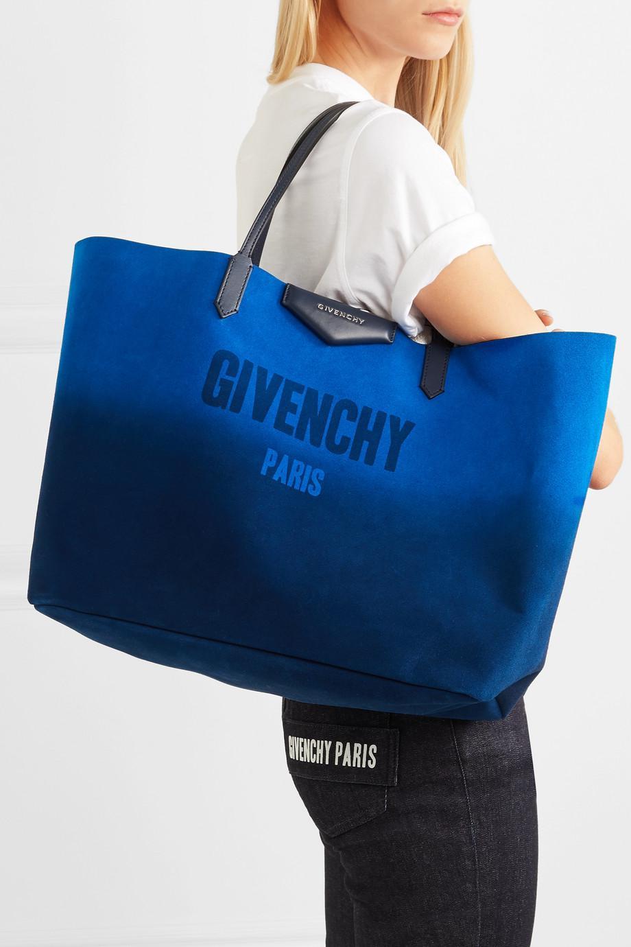 cuero gamuza Azul de metalizado de Givenchy y mano reversible reversible Bolso de Antigona Pqaw6nX