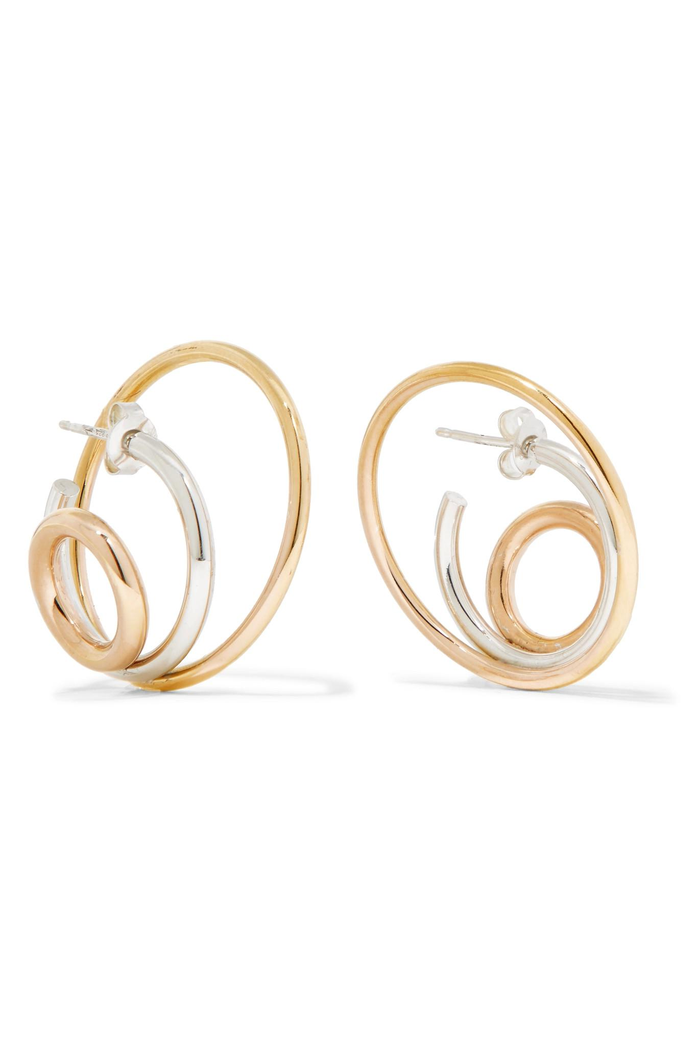 Charlotte Chesnais Richoche 18-karat Gold, Silver And Rose Gold Earrings