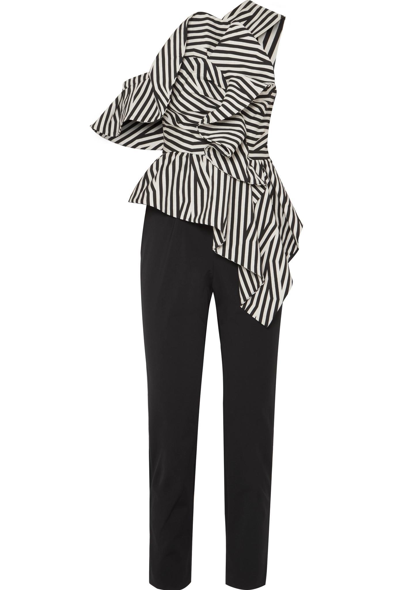 c1c6bb830cd9 Self-Portrait Ruffled Striped Poplin Jumpsuit in Black - Lyst